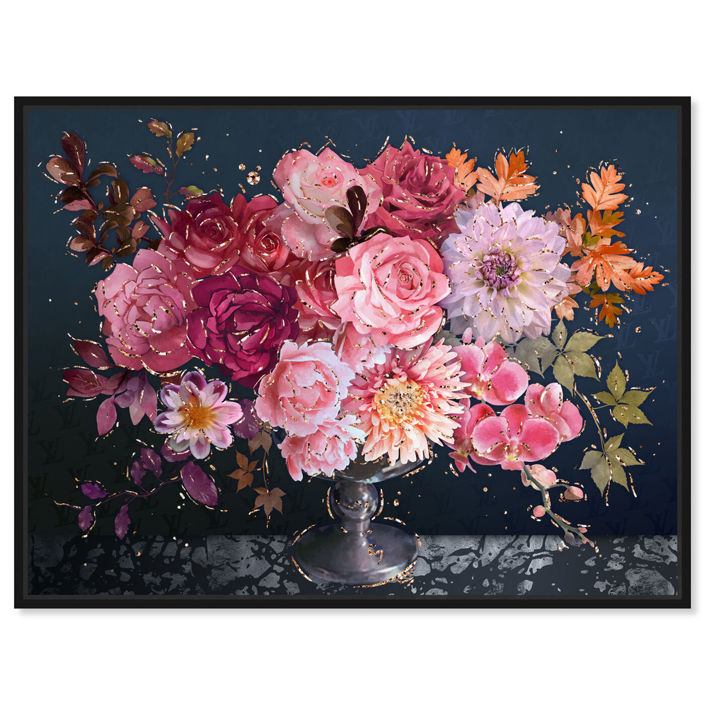 Front view of Royal Navy Bouquet featuring floral and botanical and florals art.