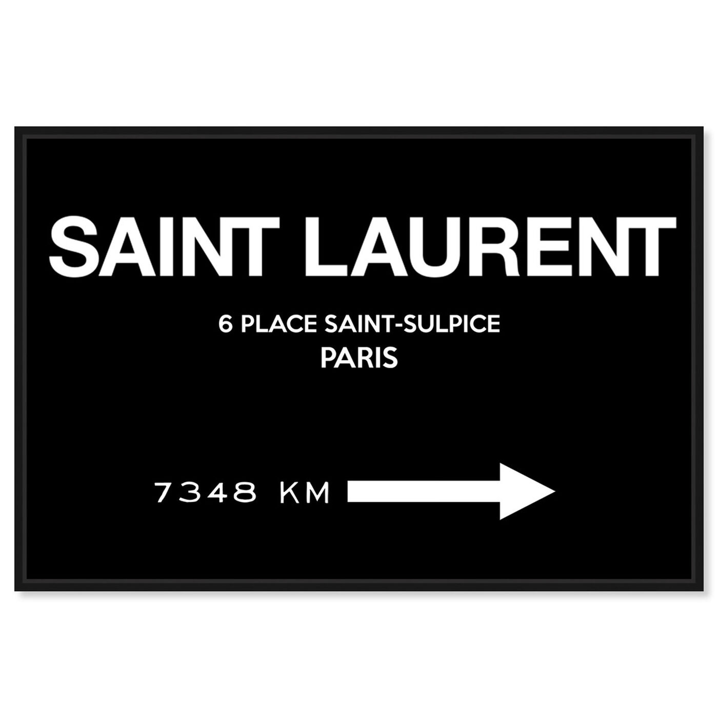 Front view of Paris Road Sign BW Couture featuring fashion and glam and road signs art.