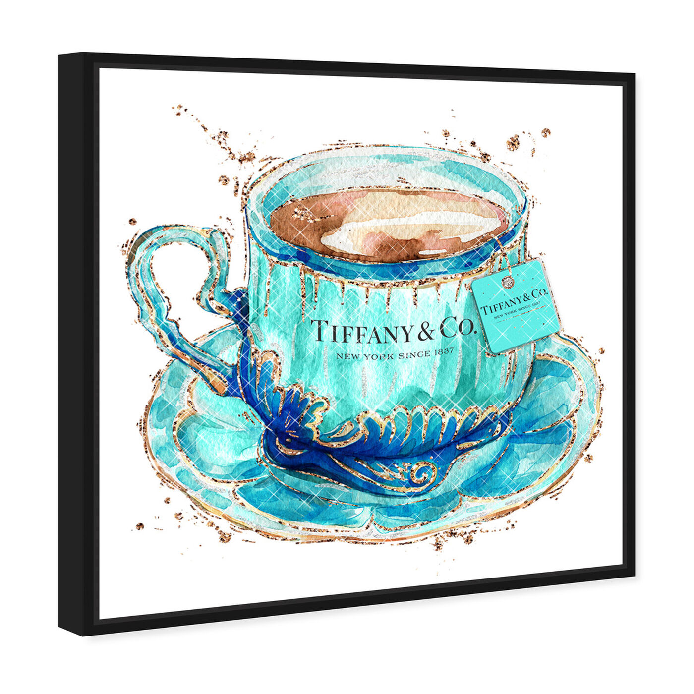 Angled view of Aqua Tea Cup featuring fashion and glam and fashion lifestyle art.