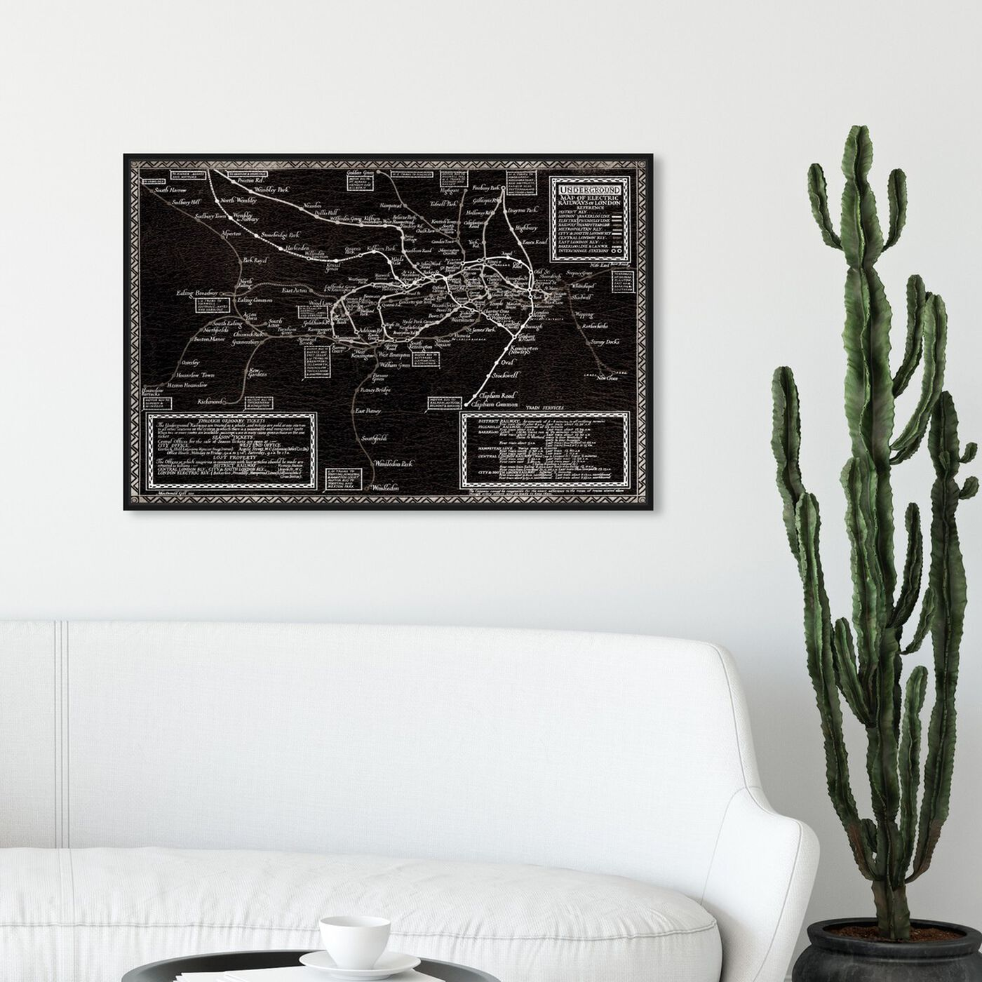 Hanging view of Map of the Electric Railways of London 1921 Map featuring maps and flags and european cities maps art.