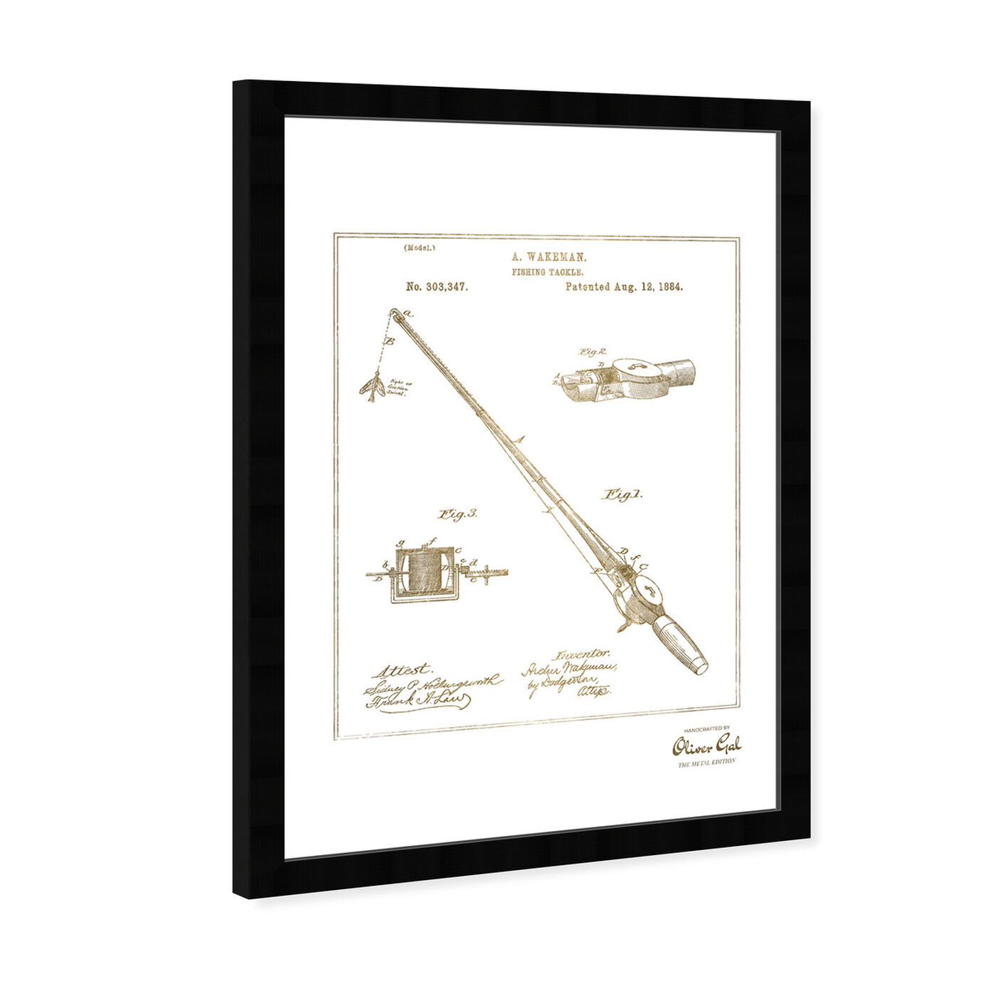 Angled view of FISHING ROD 1884 Gold featuring entertainment and hobbies and fishing art.