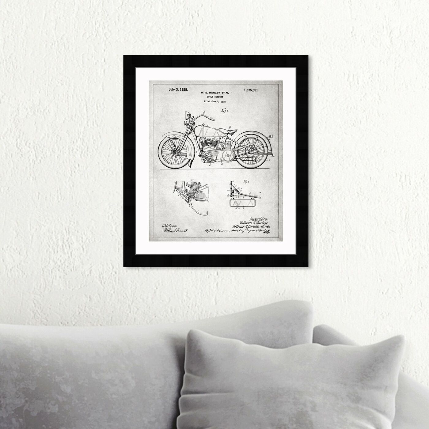 Hanging view of Harley, 1928 - Gray featuring transportation and motorcycles art.