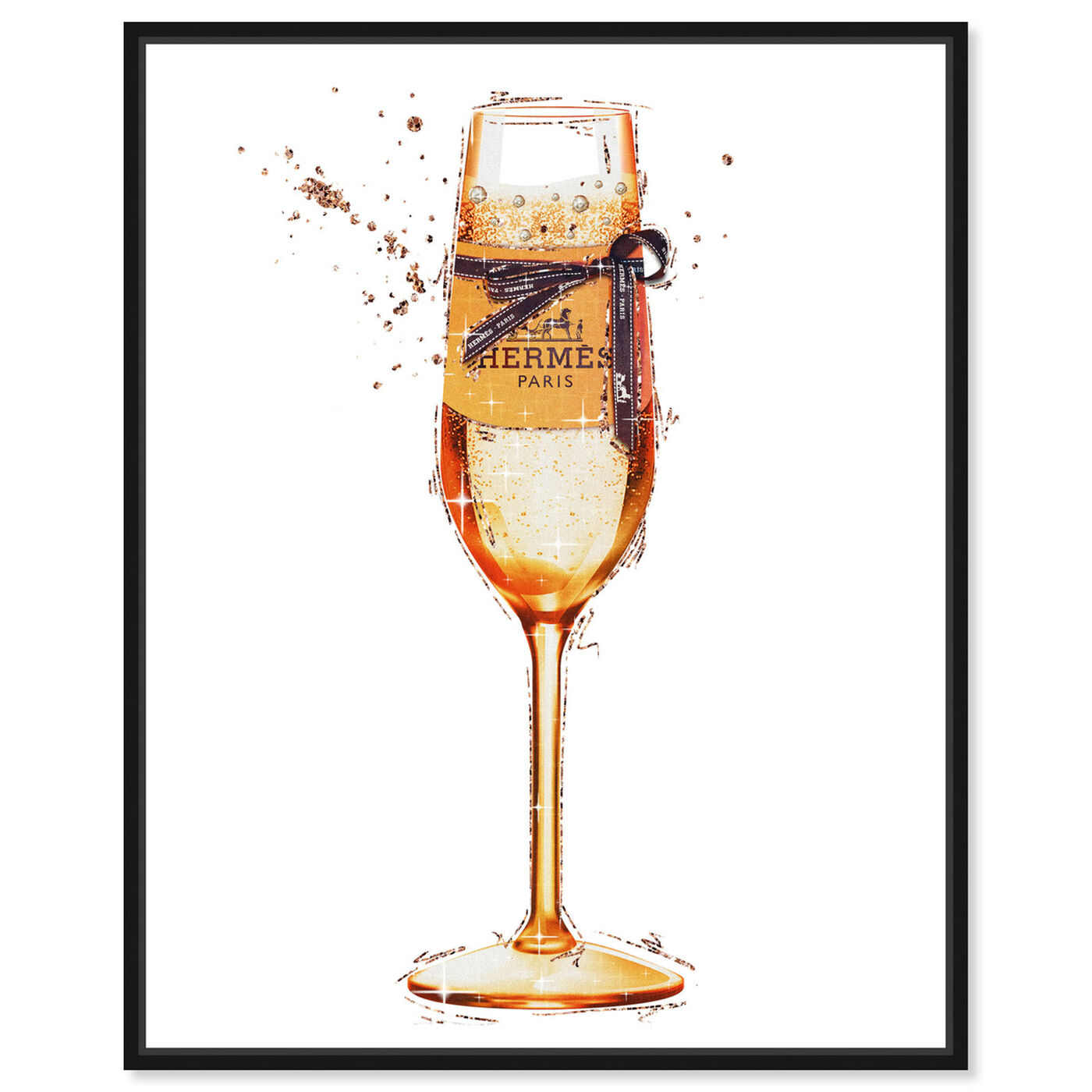 Front view of The Orange Toast featuring drinks and spirits and champagne art.