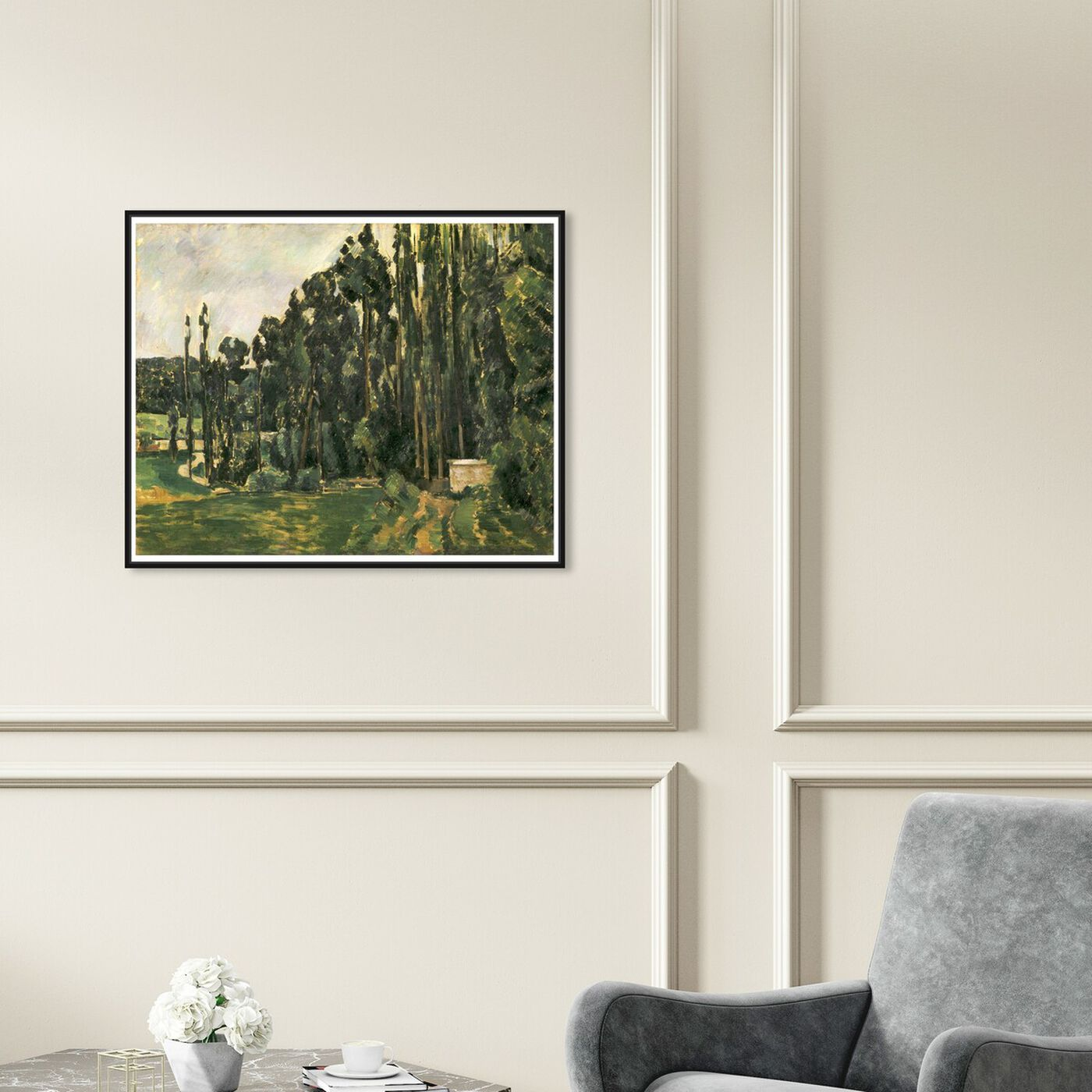 Hanging view of Paul Cezanne - Poplars featuring nature and landscape and forest landscapes art.