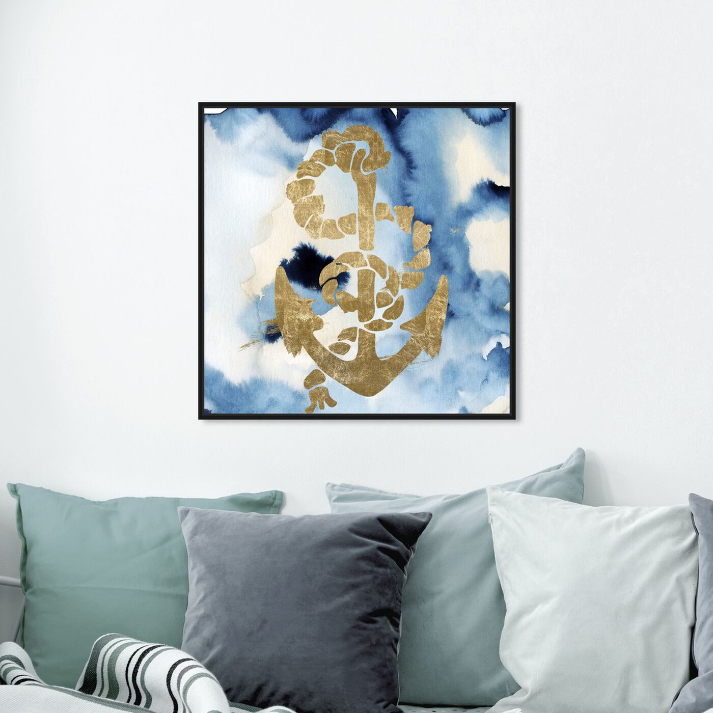 Hanging view of Anchors Away! featuring nautical and coastal and nautical watercrafts art.