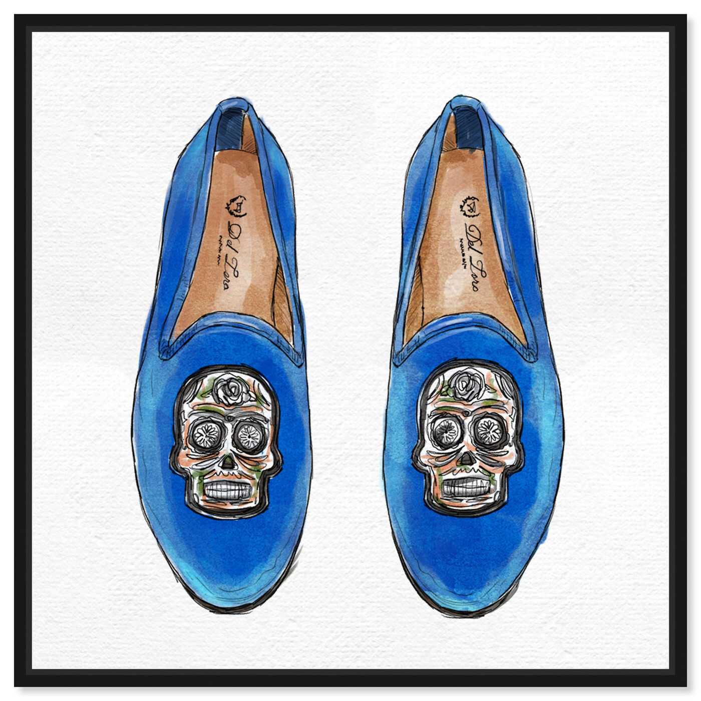 Front view of Skull Slippers featuring fashion and glam and shoes art.