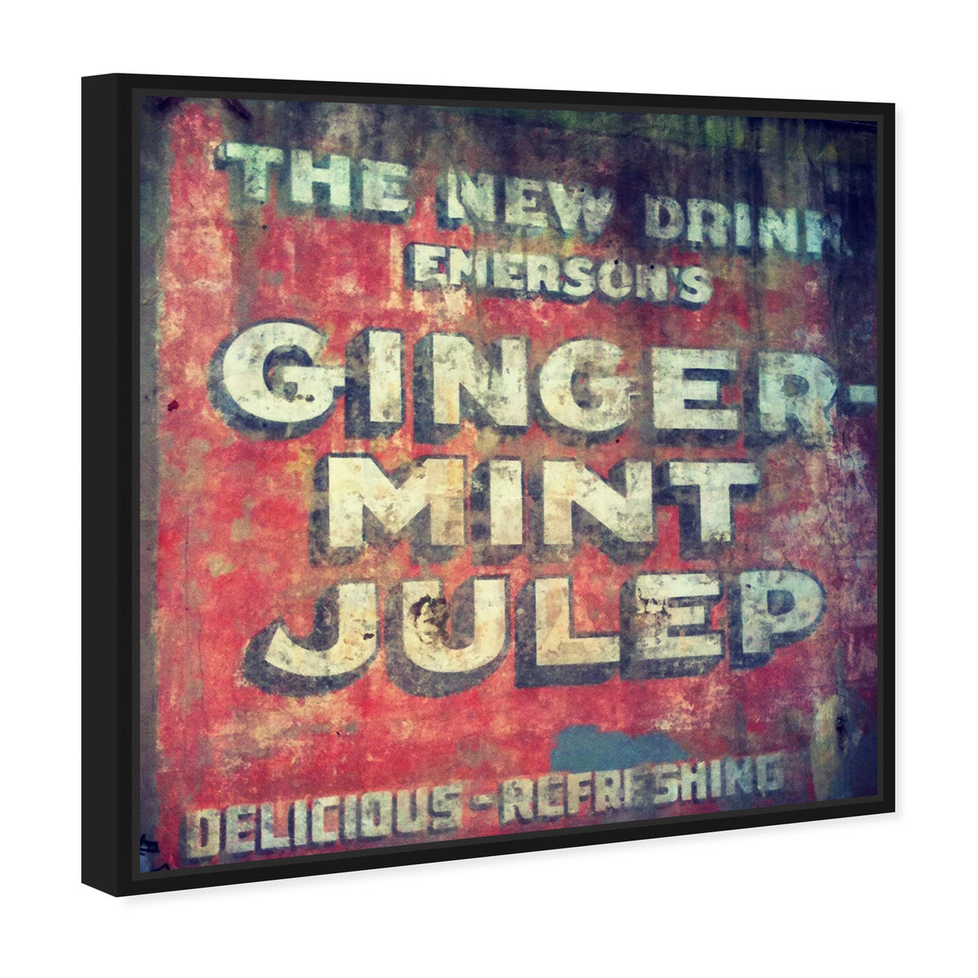 Angled view of Ginger Mint Julep featuring advertising and promotional brands art.