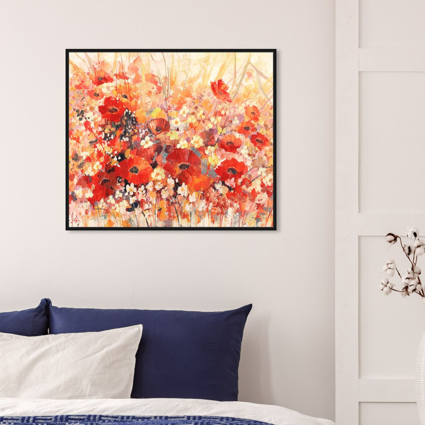 Hanging view of Sai - Red Floral 3LR1777 featuring floral and botanical and gardens art.