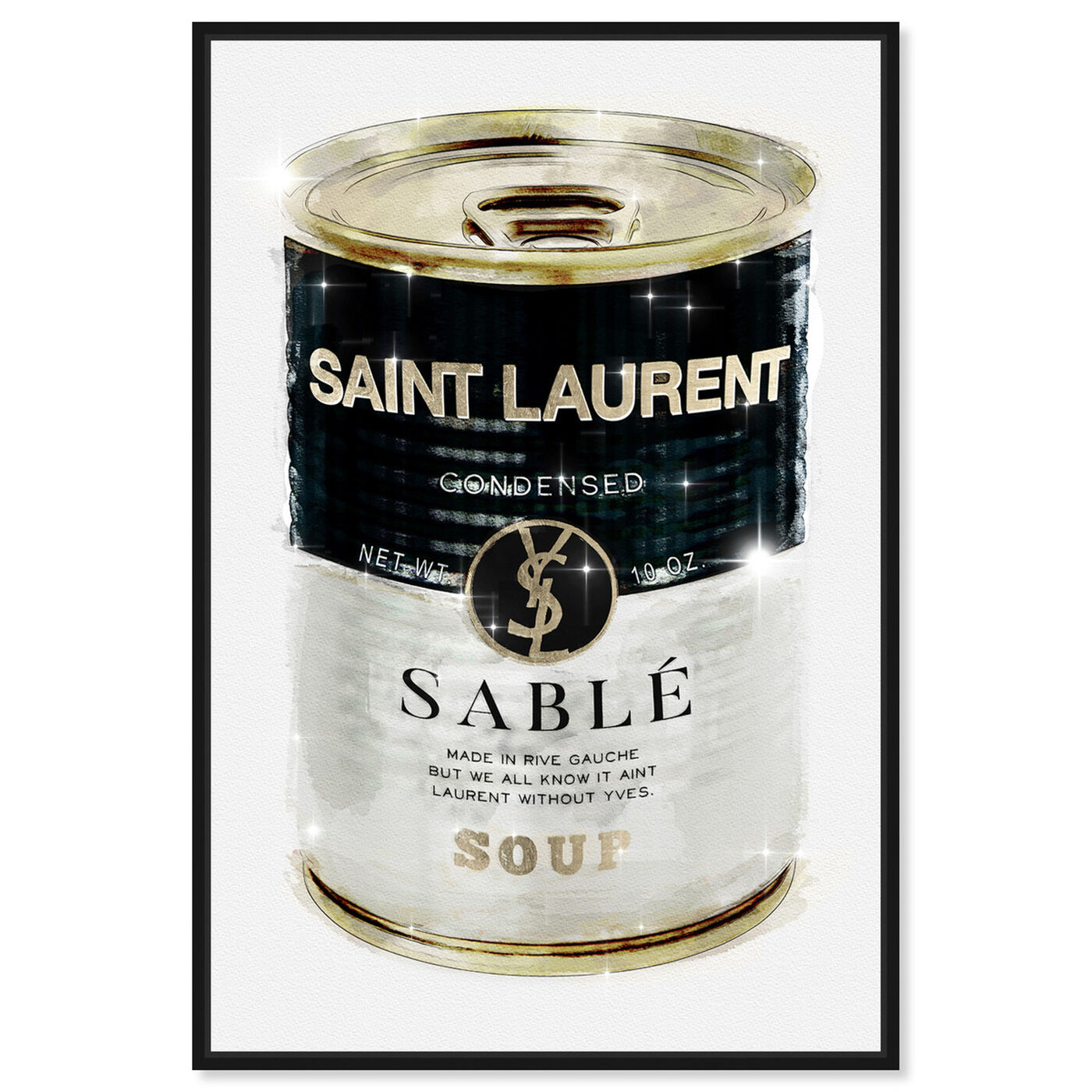Front view of Rive Sable Soup Can featuring fashion and glam and soup can art.