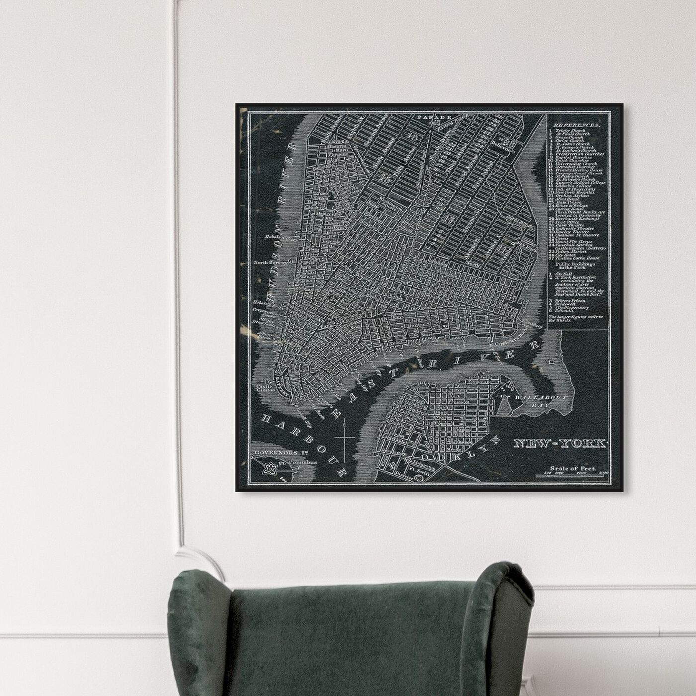 Hanging view of New York Map 1846 featuring maps and flags and us cities maps art.
