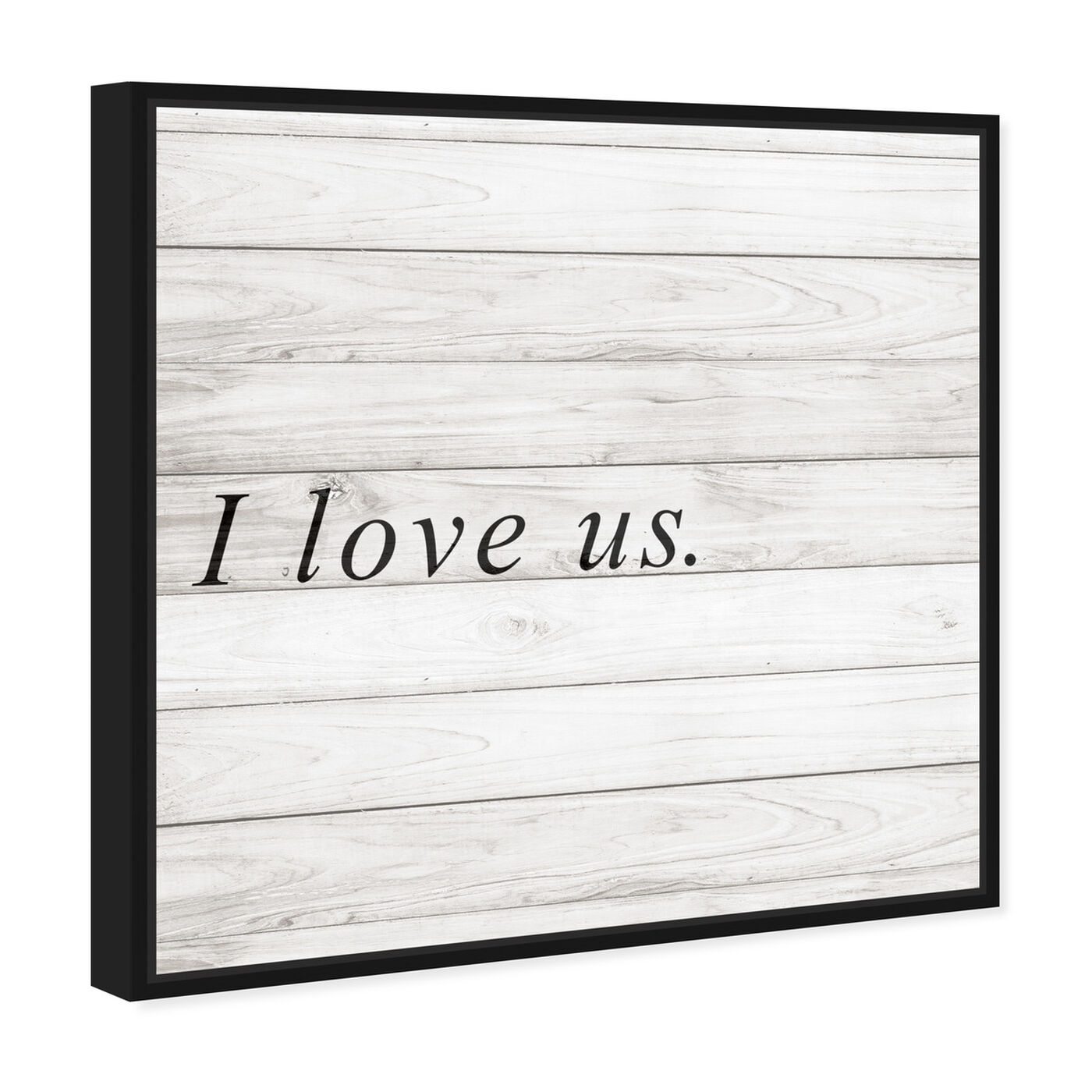 Angled view of I Love Us Square featuring typography and quotes and love quotes and sayings art.