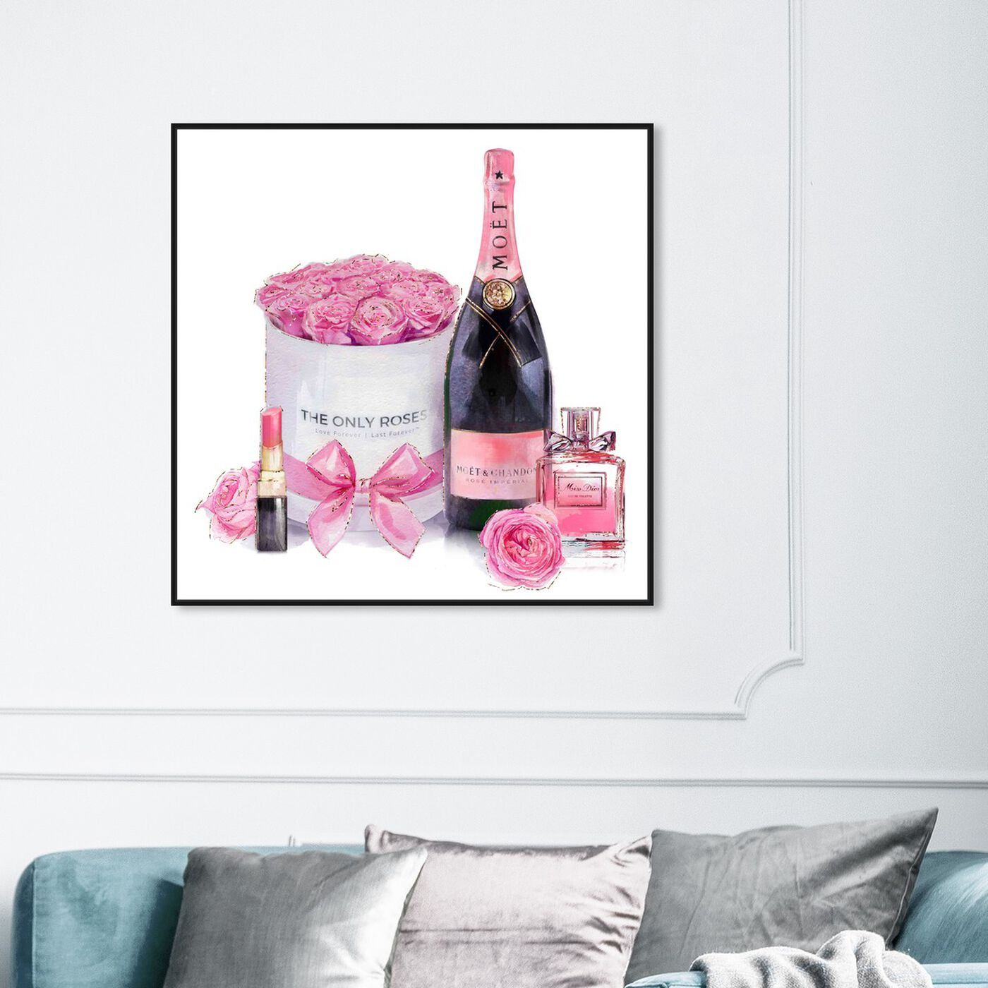 Hanging view of Pinkish Glamour featuring fashion and glam and perfumes art.