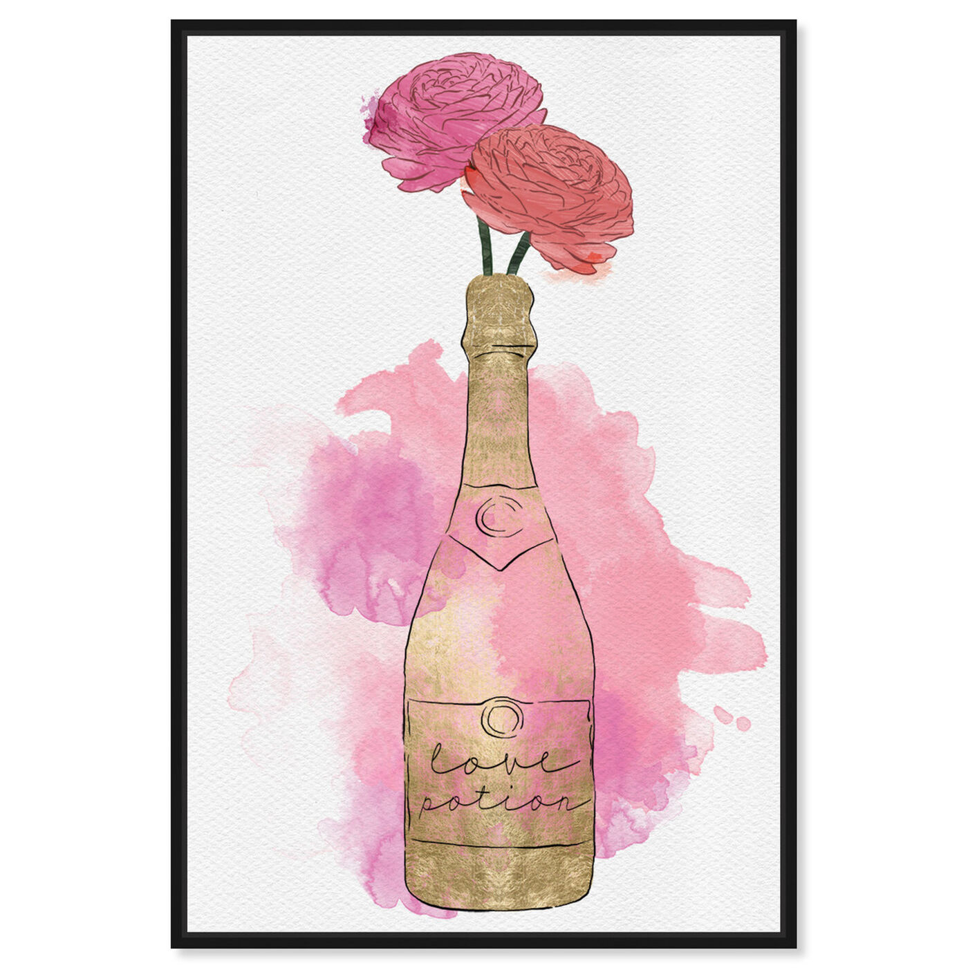Front view of Champagne and Flowers featuring drinks and spirits and champagne art.