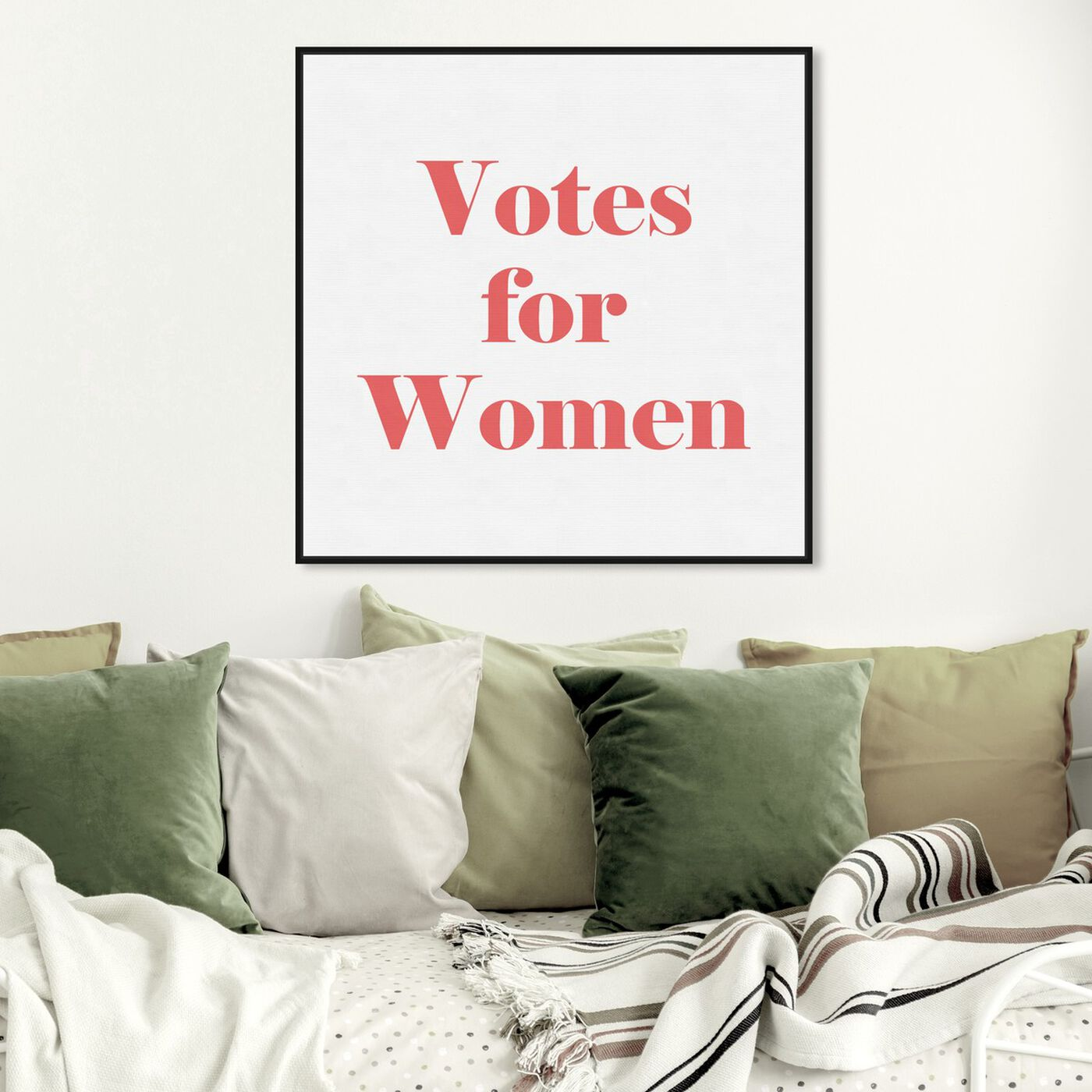 Hanging view of Votes for Women featuring typography and quotes and empowered women quotes and sayings art.