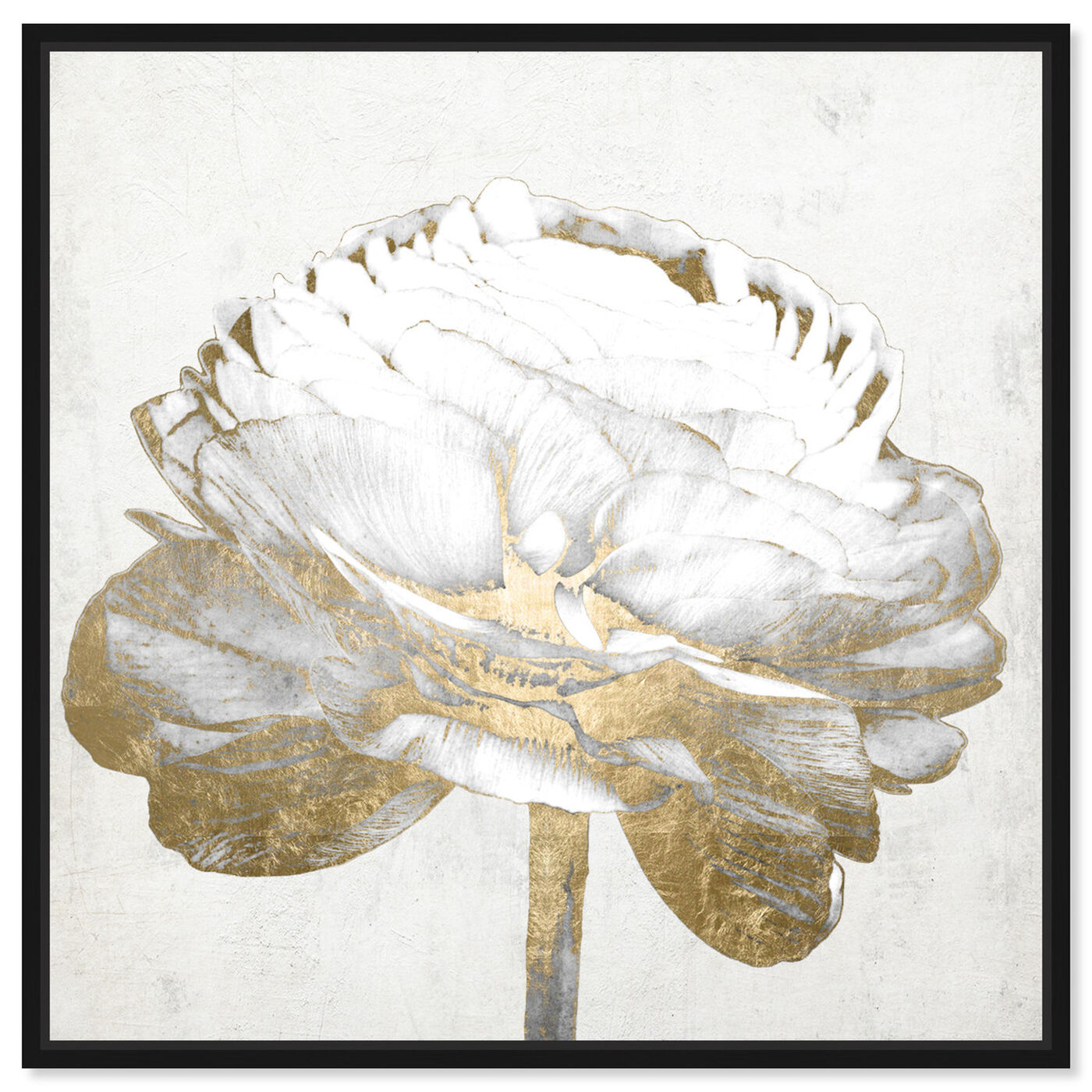 Front view of Gold and Light Floral II White featuring floral and botanical and florals art.