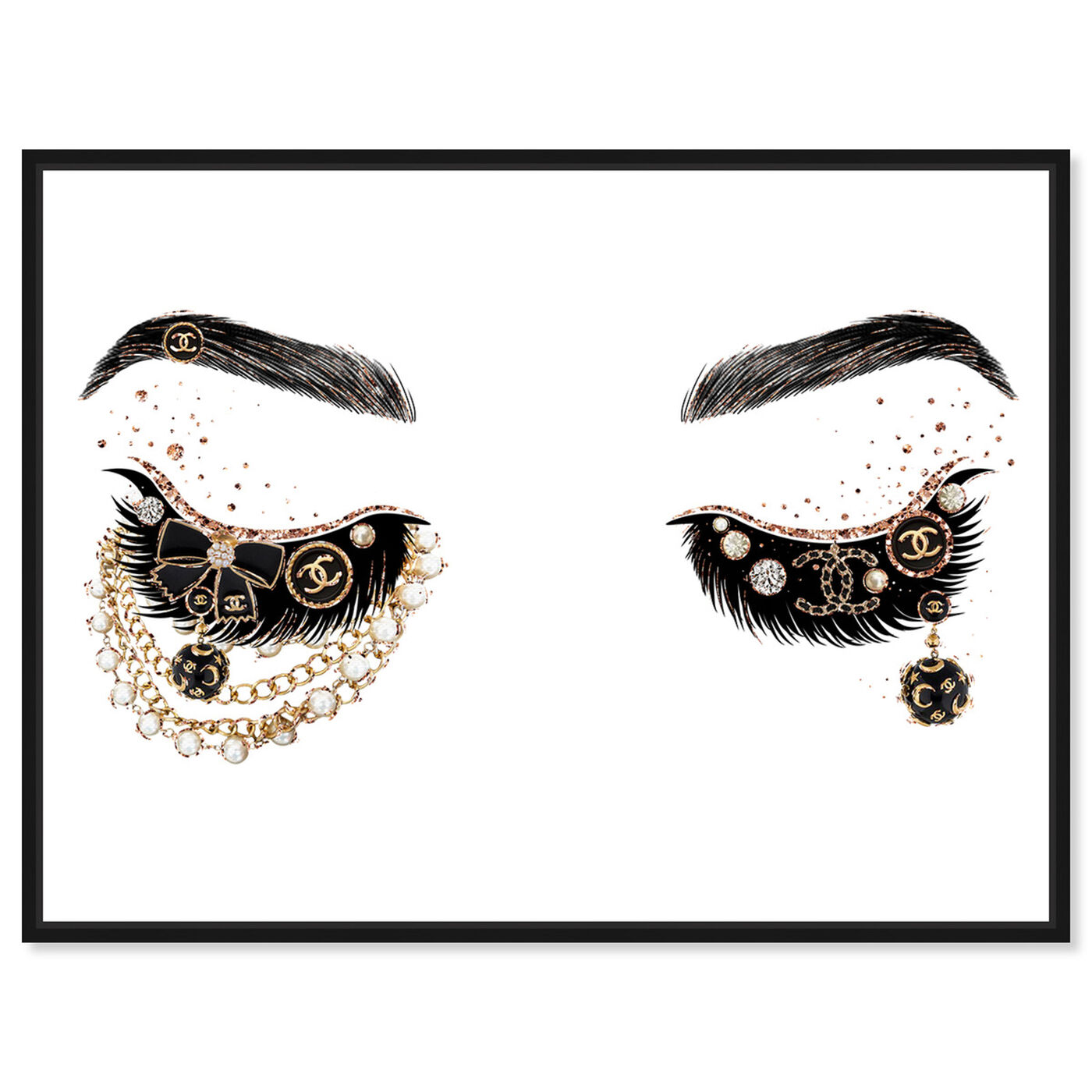Front view of Pearls and Coco Eyes featuring fashion and glam and makeup art.