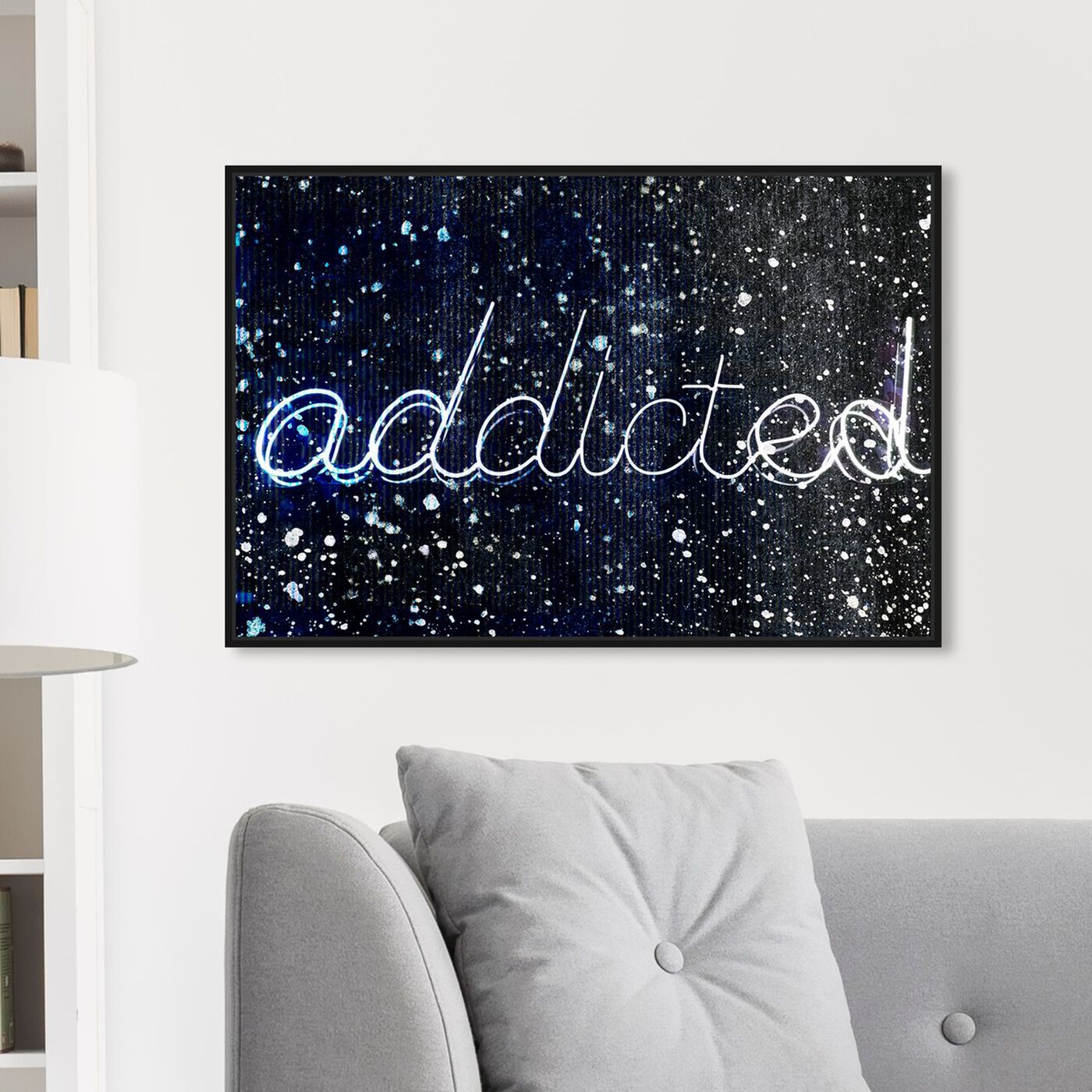Hanging view of Addicted featuring typography and quotes and quotes and sayings art.