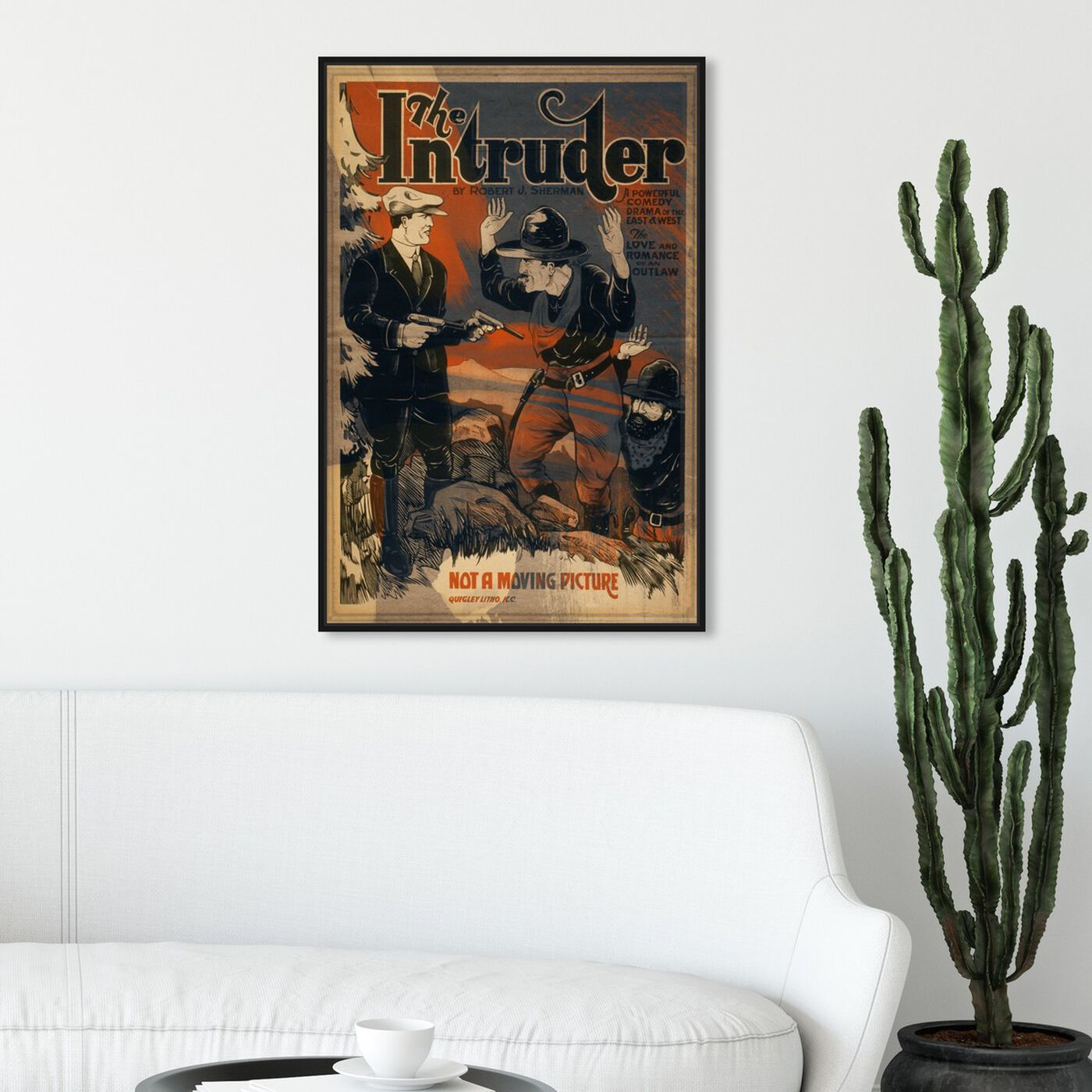 Hanging view of The Intruder featuring advertising and posters art.