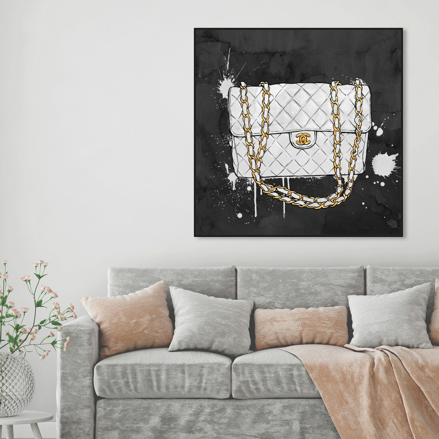 Hanging view of Everything But My White Bag featuring fashion and glam and handbags art.