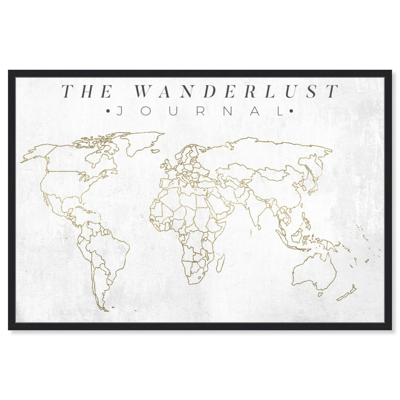 Front view of The Wanderlust Journal featuring maps and flags and world maps art.