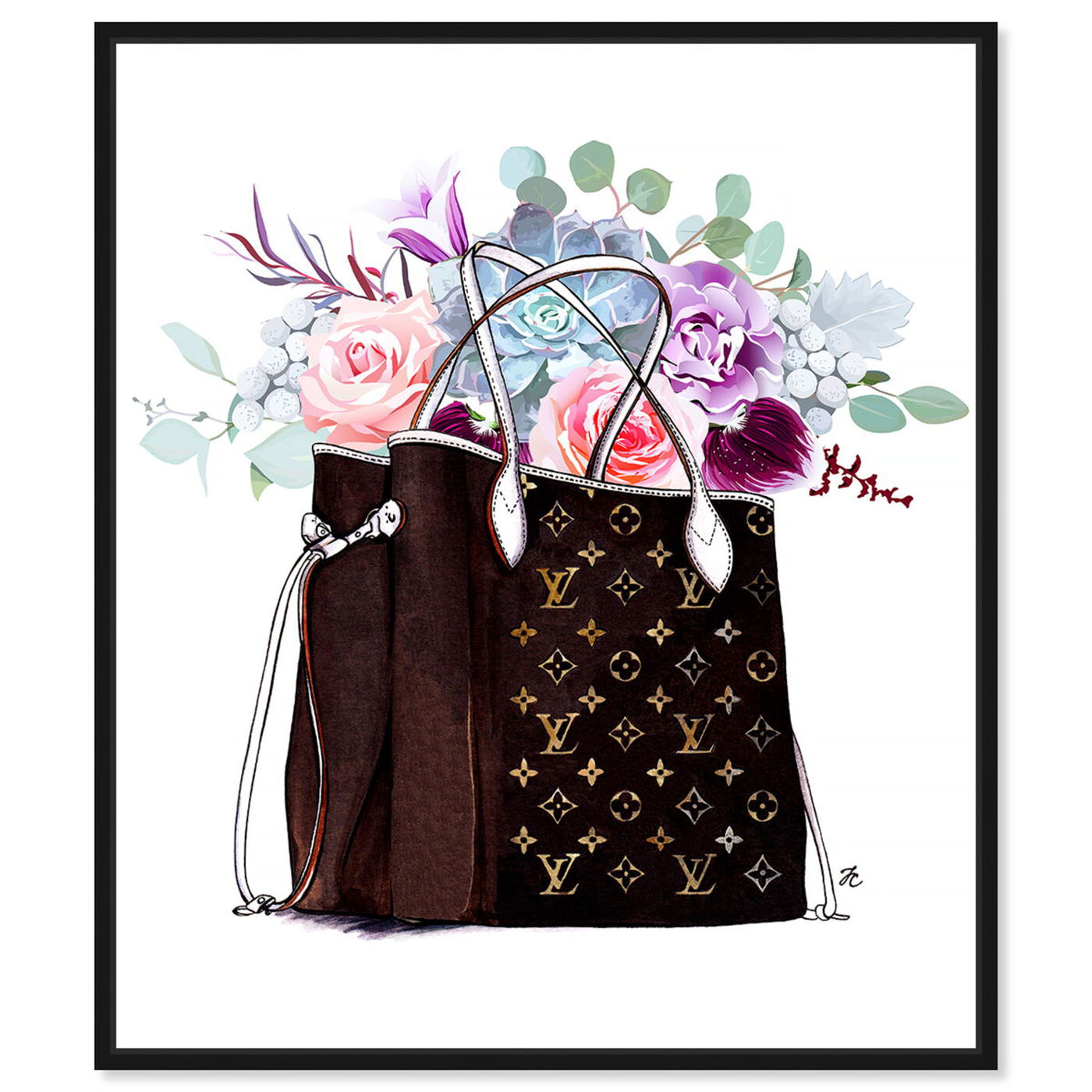 Front view of Doll Memories - Fashion Flowered Hand Bag featuring fashion and glam and handbags art.