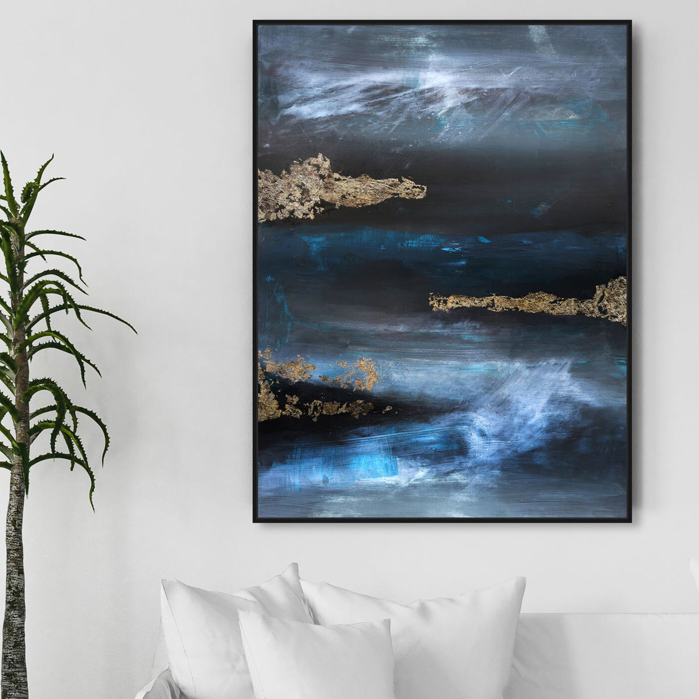 Hanging view of Golden blue II featuring abstract and textures art.