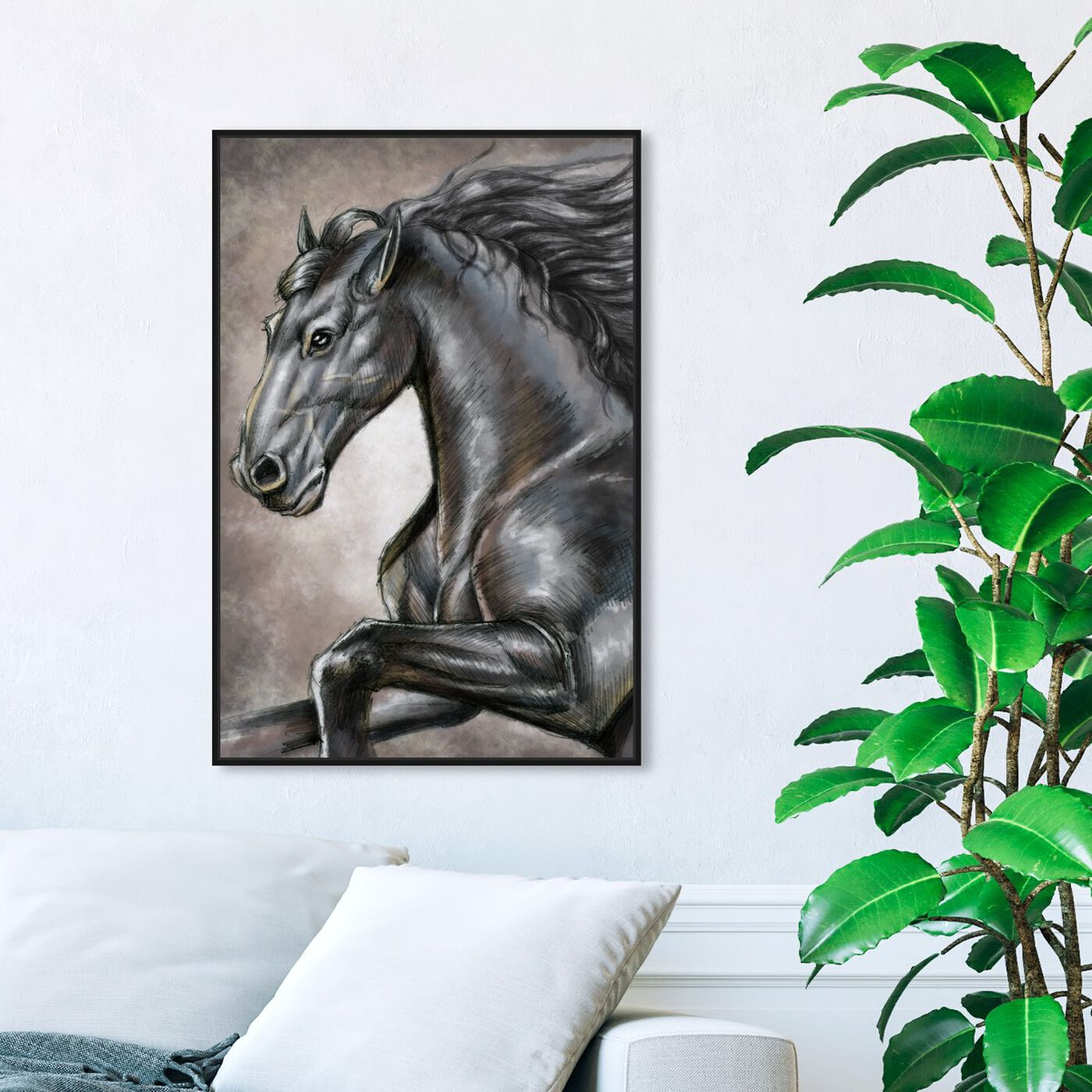 Hanging view of Gray Horse featuring animals and farm animals art.