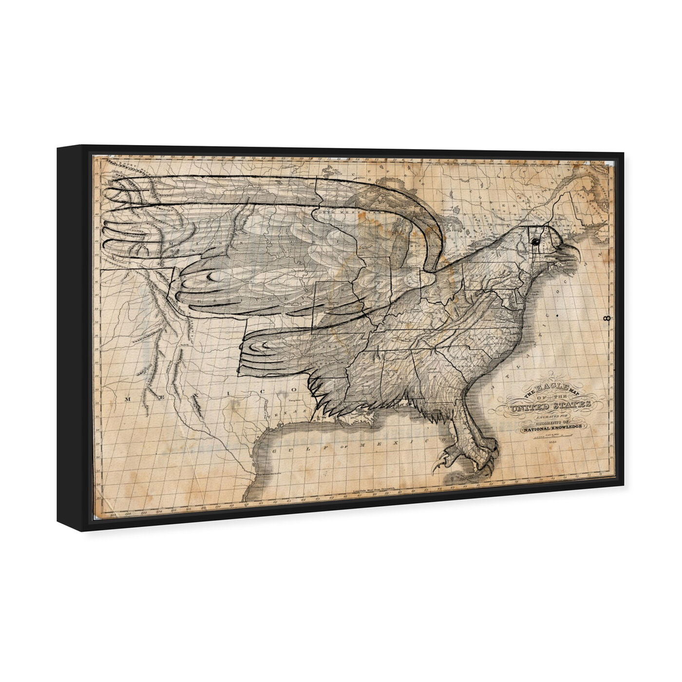 Angled view of The Eagle Map of the US 1833 featuring maps and flags and american countries maps art.