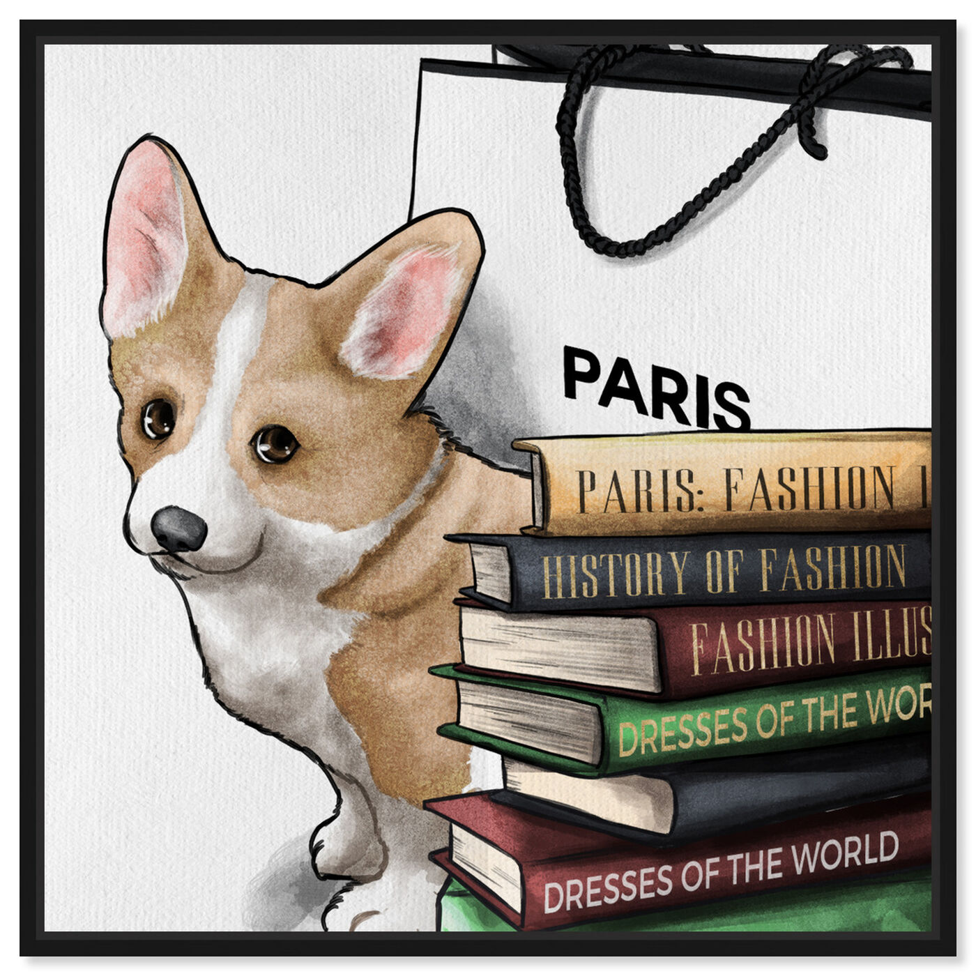 Front view of Fashion Books Corgi featuring animals and dogs and puppies art.