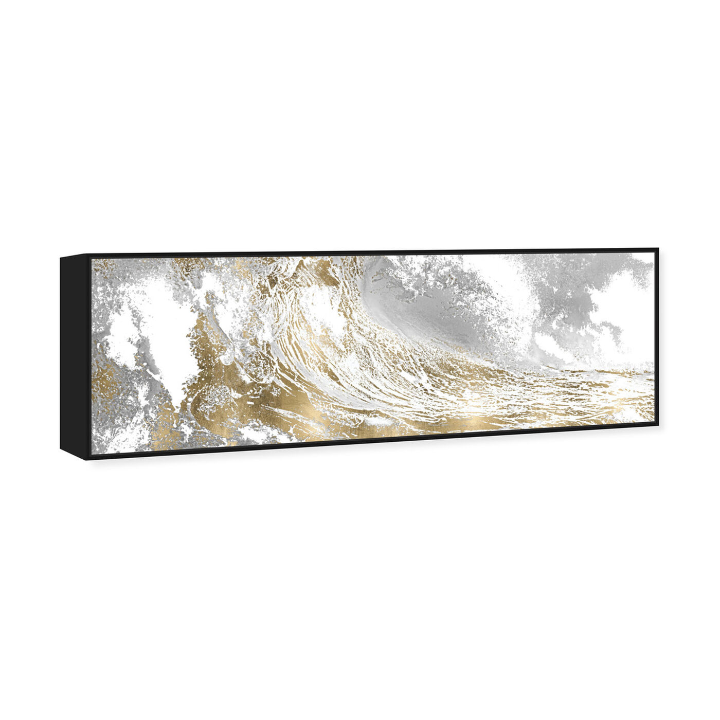 Angled view of Wave in a Moment Gold featuring nautical and coastal and coastal landscapes art.