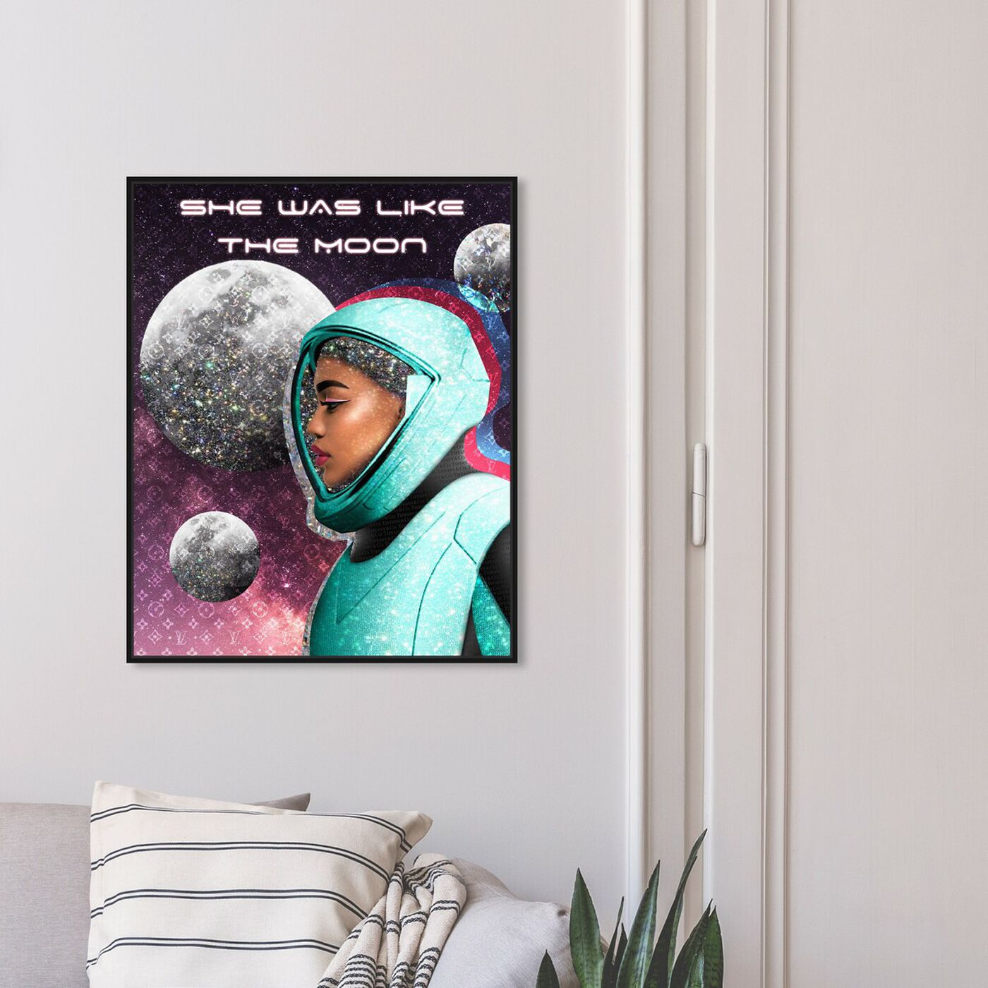 Hanging view of She was like the Moon featuring astronomy and space and astronaut art.