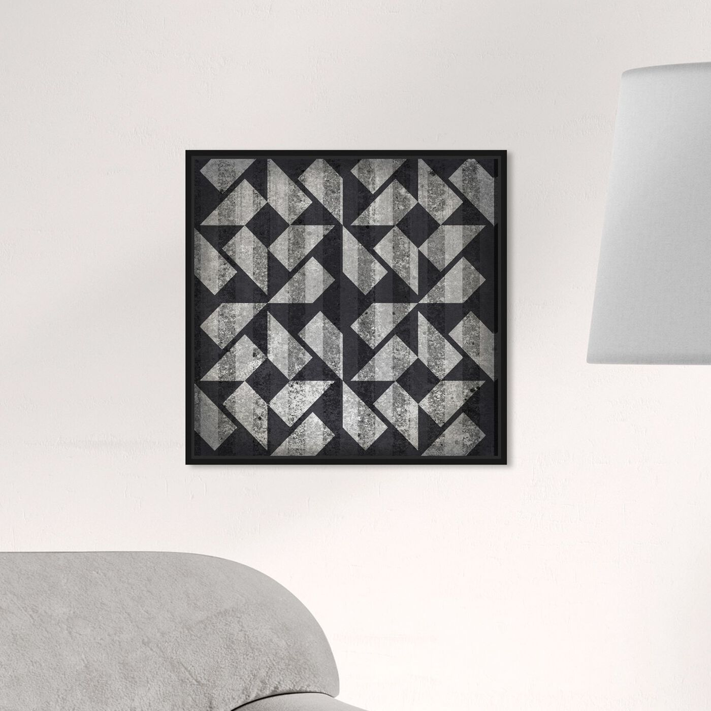 Hanging view of Rotating Journey featuring abstract and geometric art.