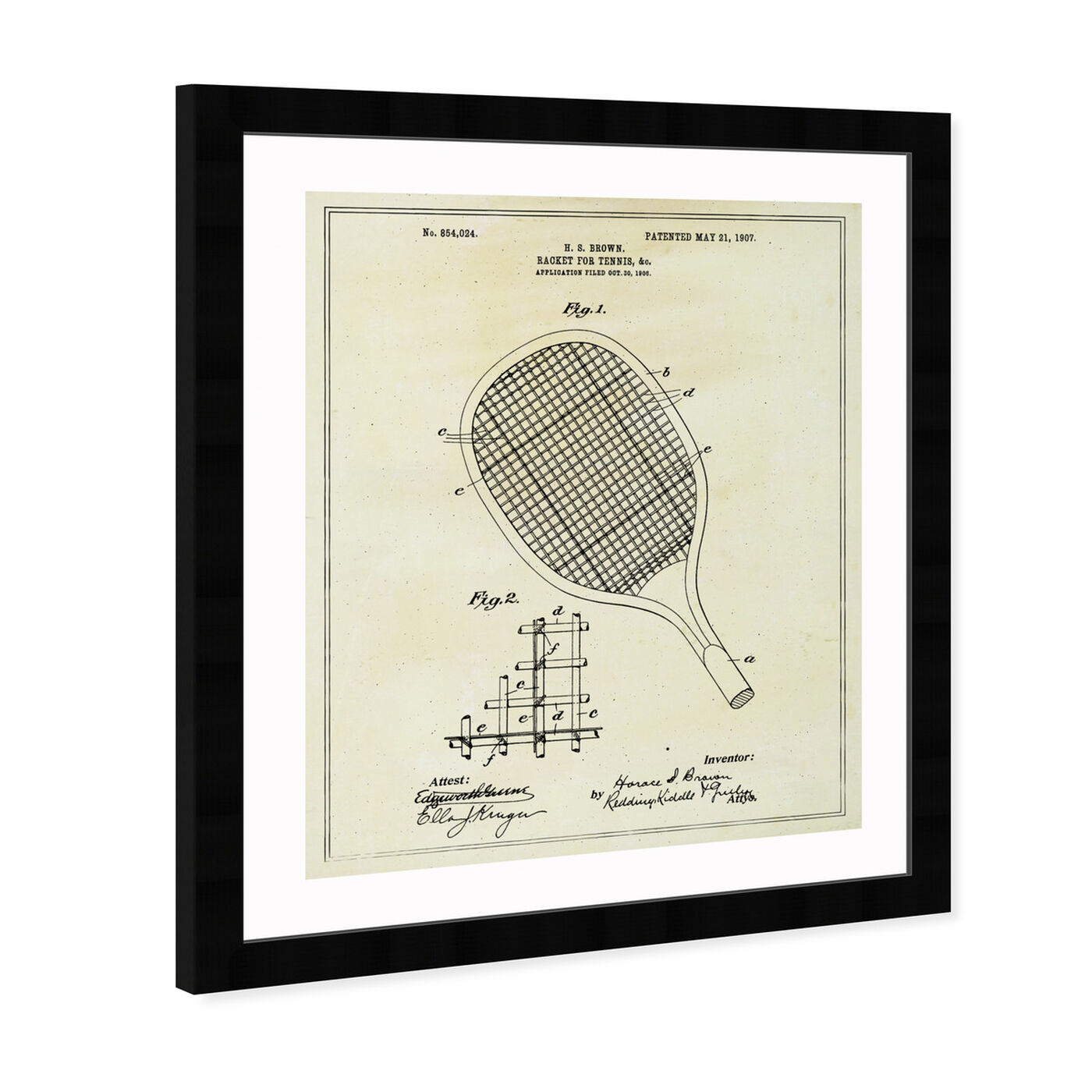 Angled view of Tennis Racket 1907 featuring sports and teams and tennis art.