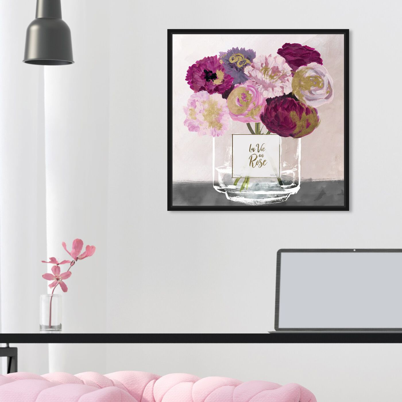 Hanging view of La Vie En Rose featuring floral and botanical and florals art.