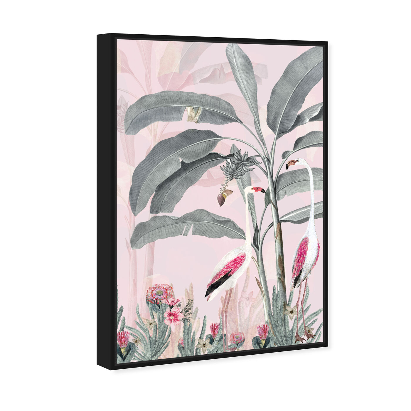 Angled view of Flamingo Pink featuring animals and birds art.