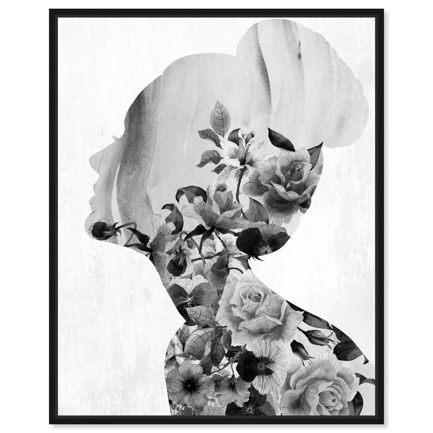 Front view of Flower Built White and Black featuring floral and botanical and florals art.