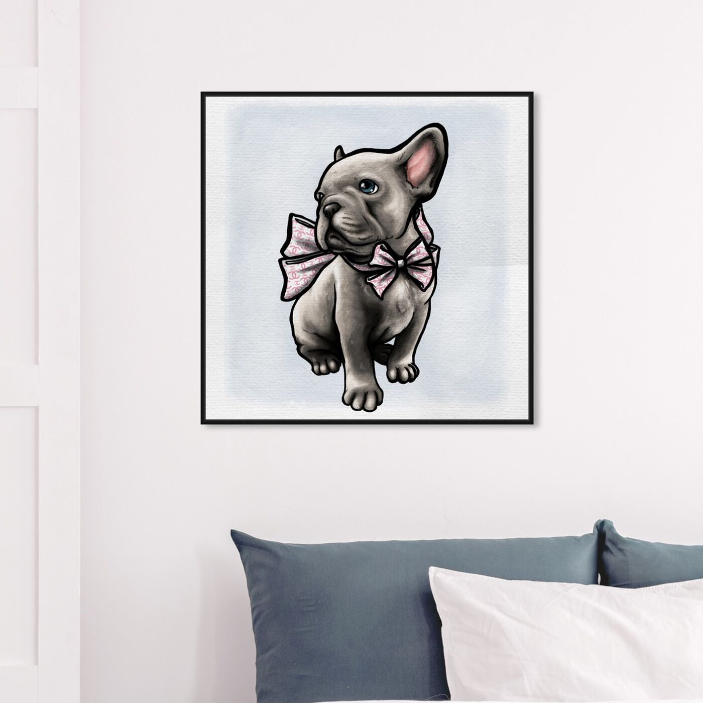 Hanging view of Frenchie with Bow featuring animals and dogs and puppies art.