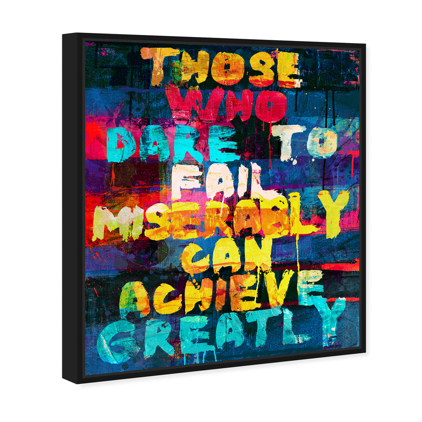Angled view of Achieve Greatly featuring typography and quotes and inspirational quotes and sayings art.