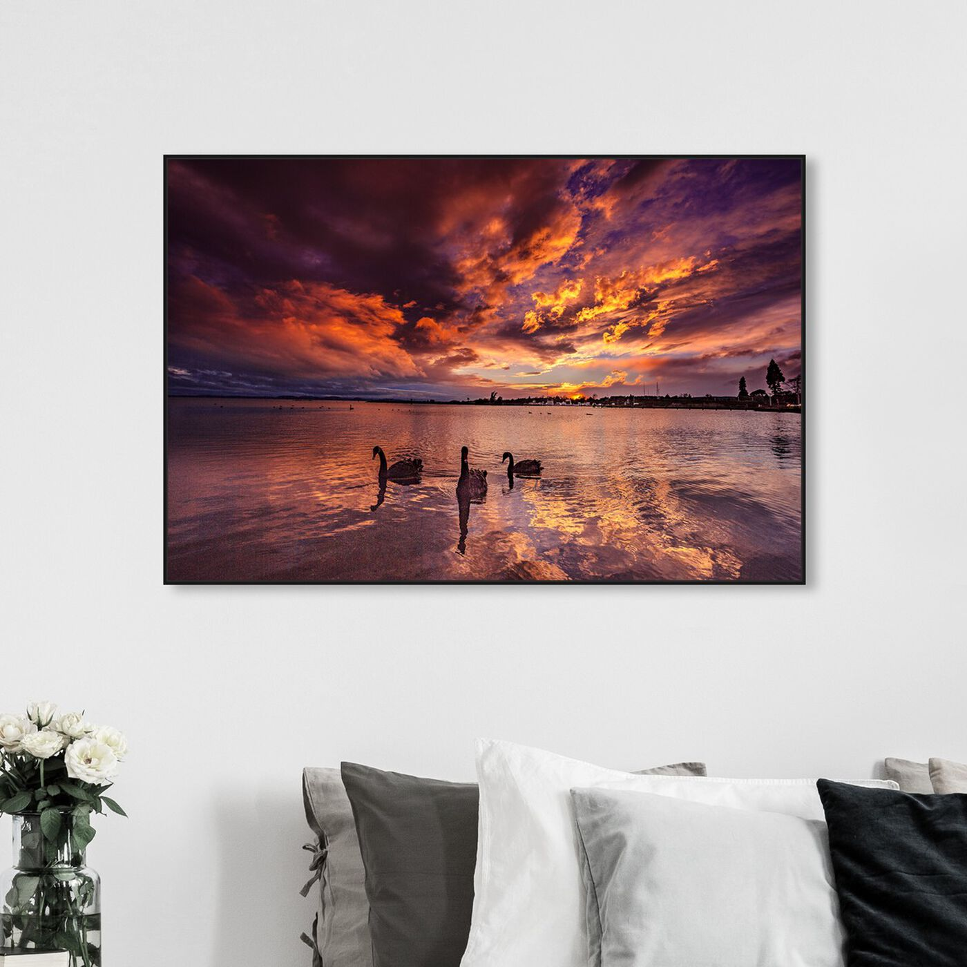 Hanging view of Curro Cardenal - Fire in the Sky Swan featuring nautical and coastal and coastal landscapes art.