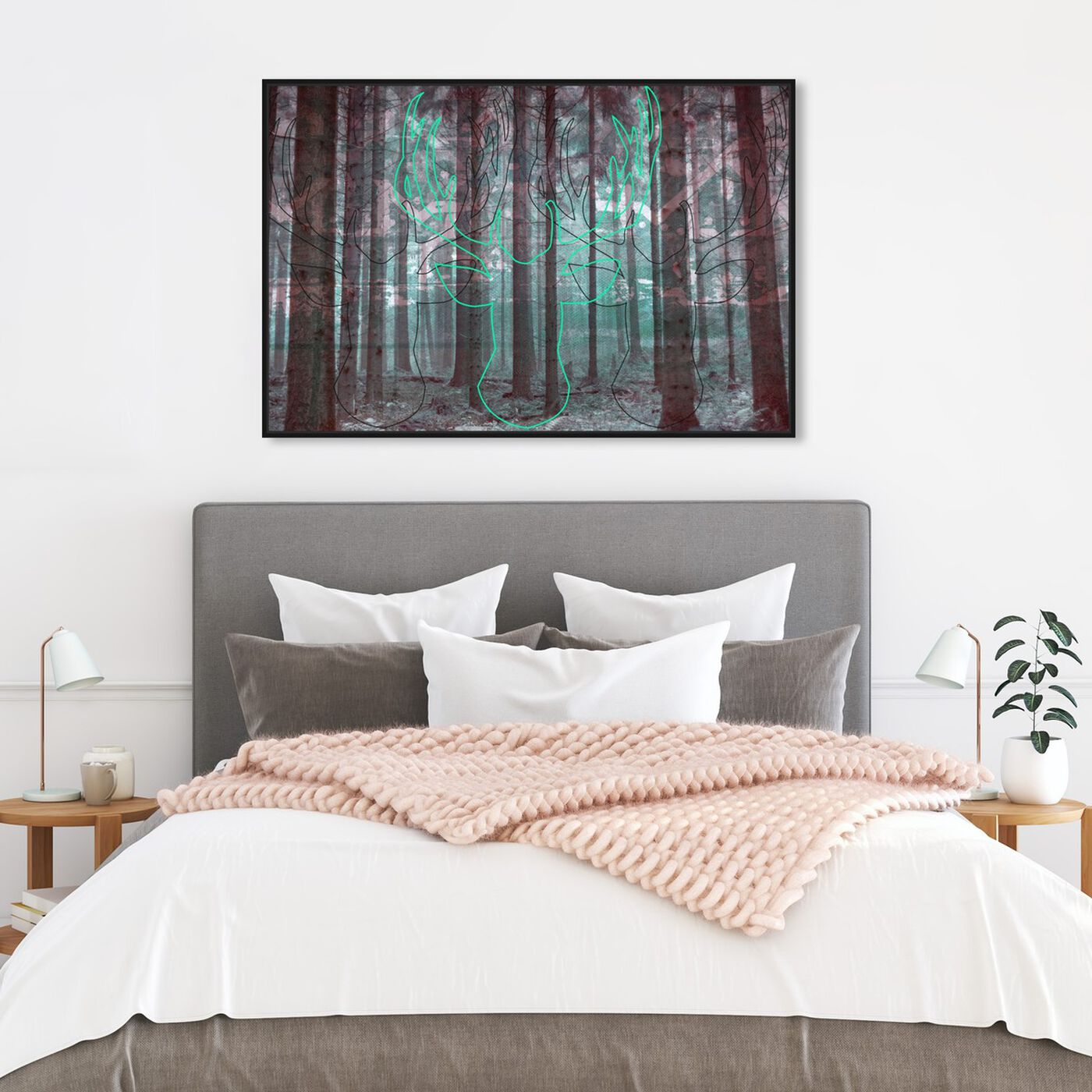 Hanging view of Oh My Deer! featuring nature and landscape and forest landscapes art.