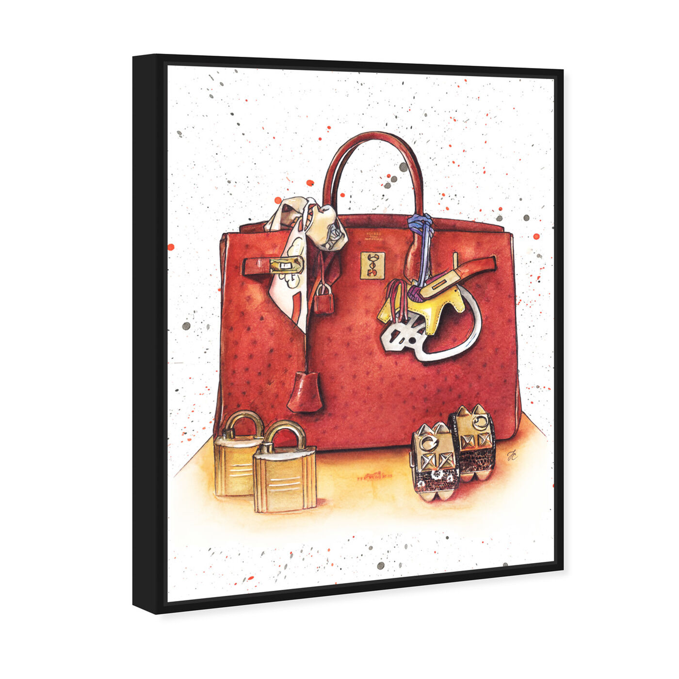 Angled view of Doll Memories - Caramel Splash Bag featuring fashion and glam and handbags art.