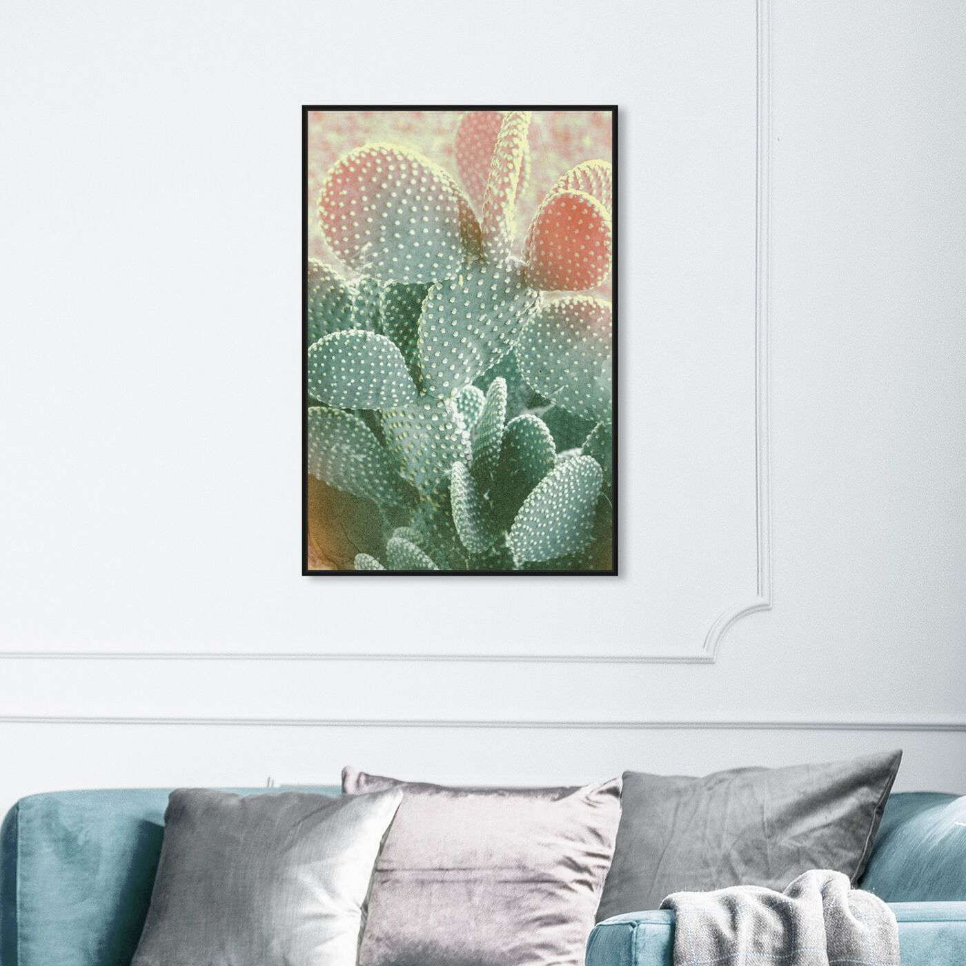 Hanging view of Blushing Cactus featuring floral and botanical and botanicals art.