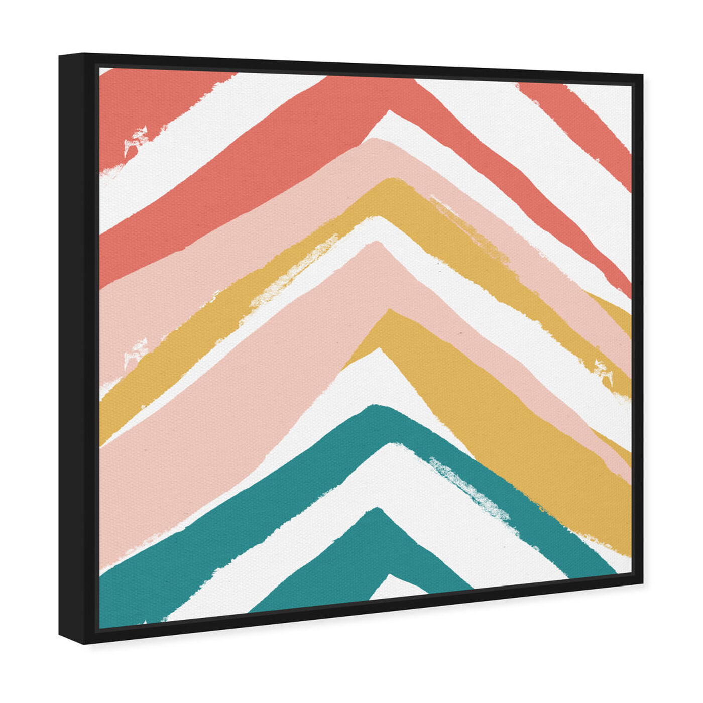 Angled view of Mid Century Pyramids featuring abstract and paint art.