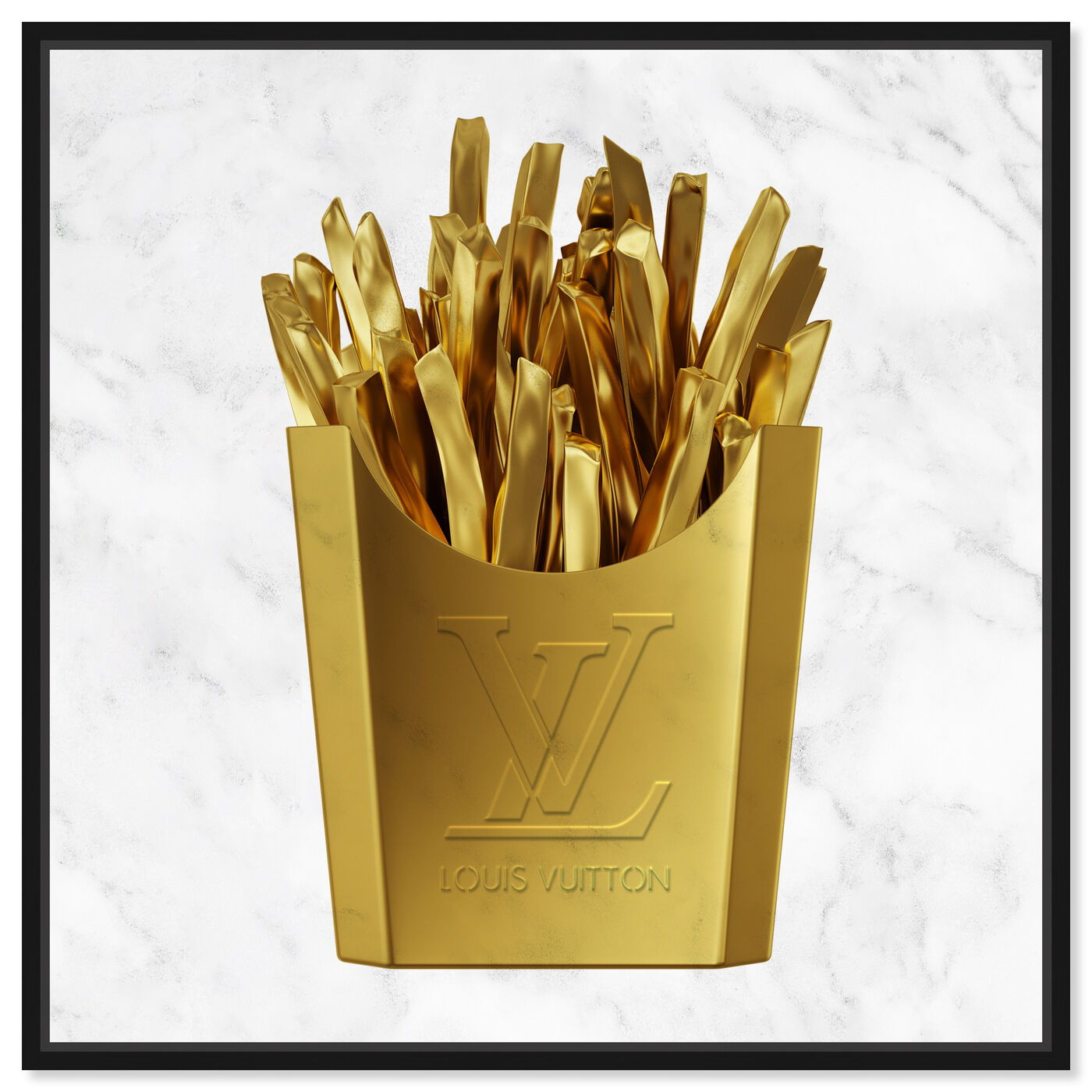Front view of Designer Fries featuring fashion and glam and lifestyle art.