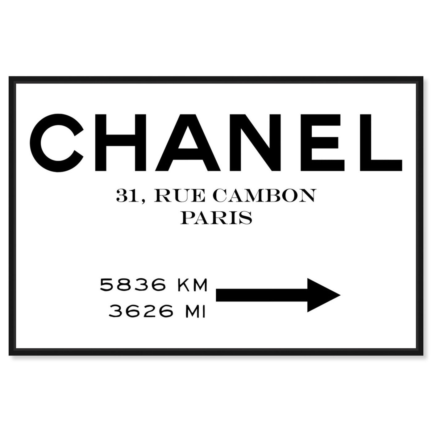 Front view of Couture Road Sign Minimalist I featuring fashion and glam and road signs art.