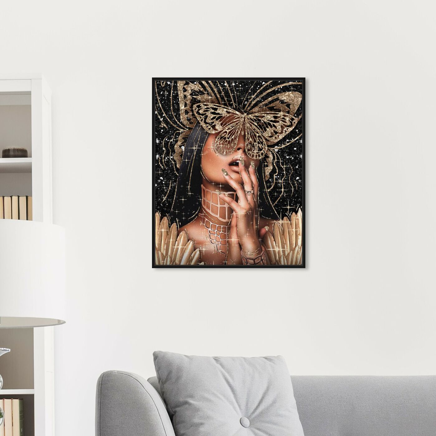 Hanging view of Golden Angela featuring fashion and glam and portraits art.