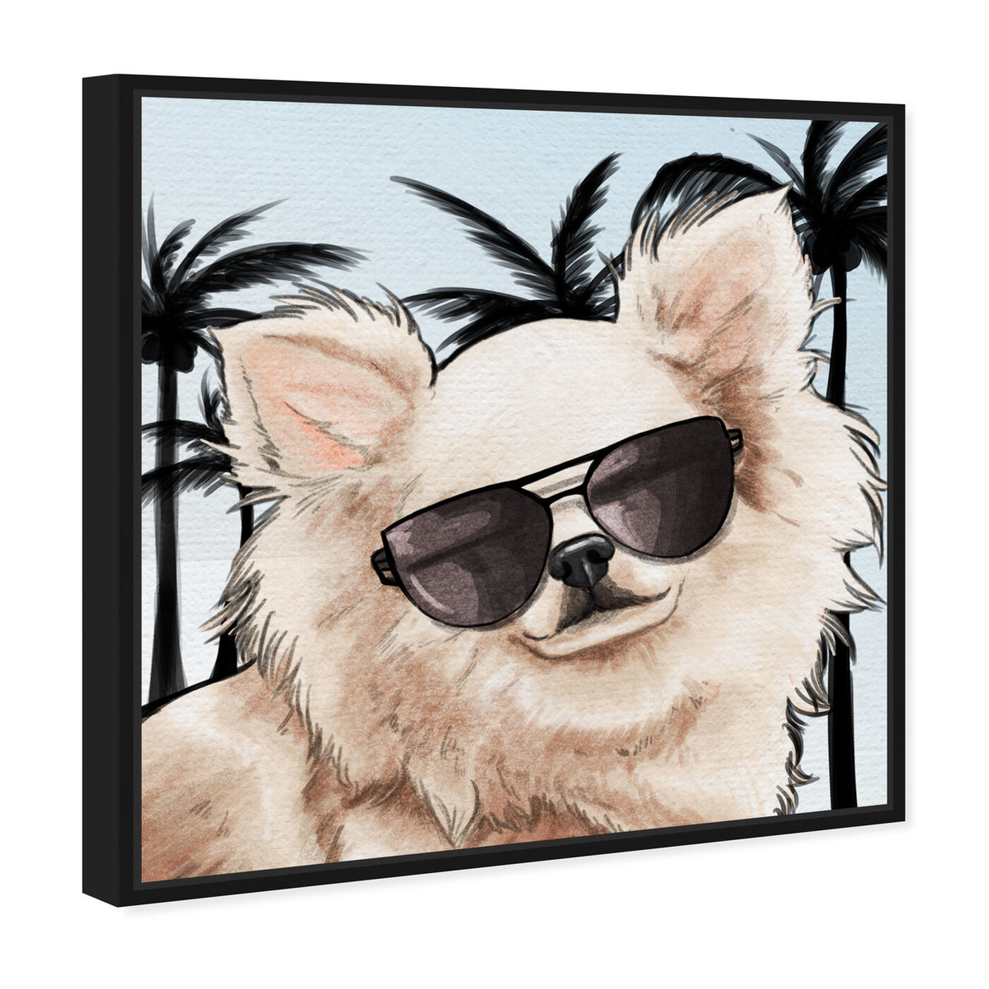 Angled view of Chihuahua Palm Glam featuring animals and dogs and puppies art.