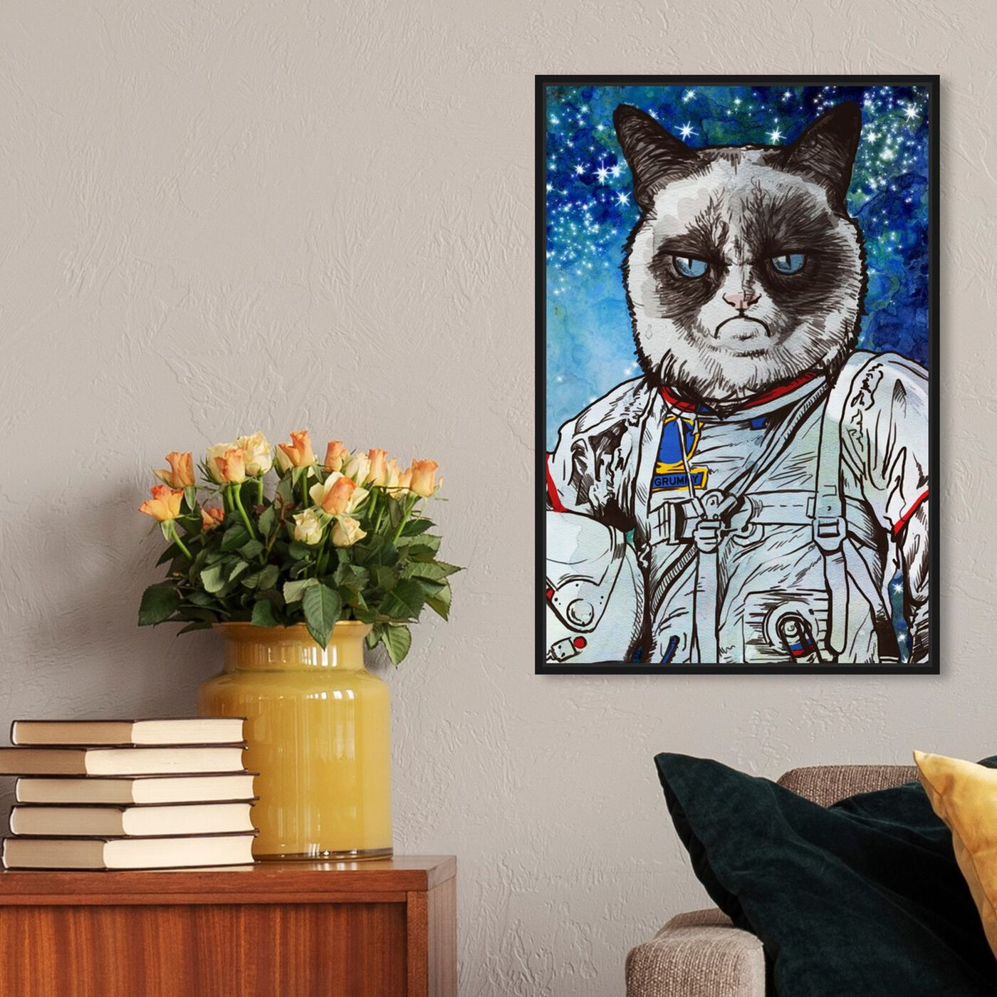 Hanging view of Captain Grumpy featuring animals and cats and kitties art.