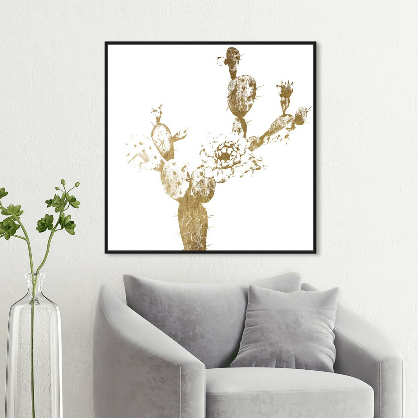 Hanging view of Cactus Gold I featuring floral and botanical and botanicals art.