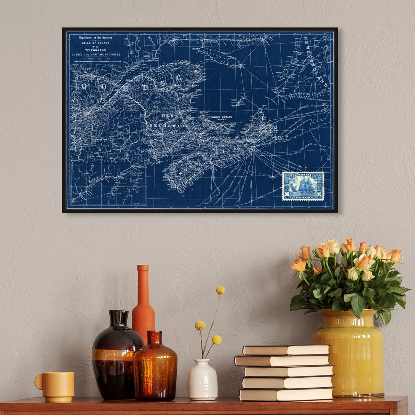 Hanging view of Quebec Maritime Provinces Map 1906 featuring cities and skylines and north american cities art.